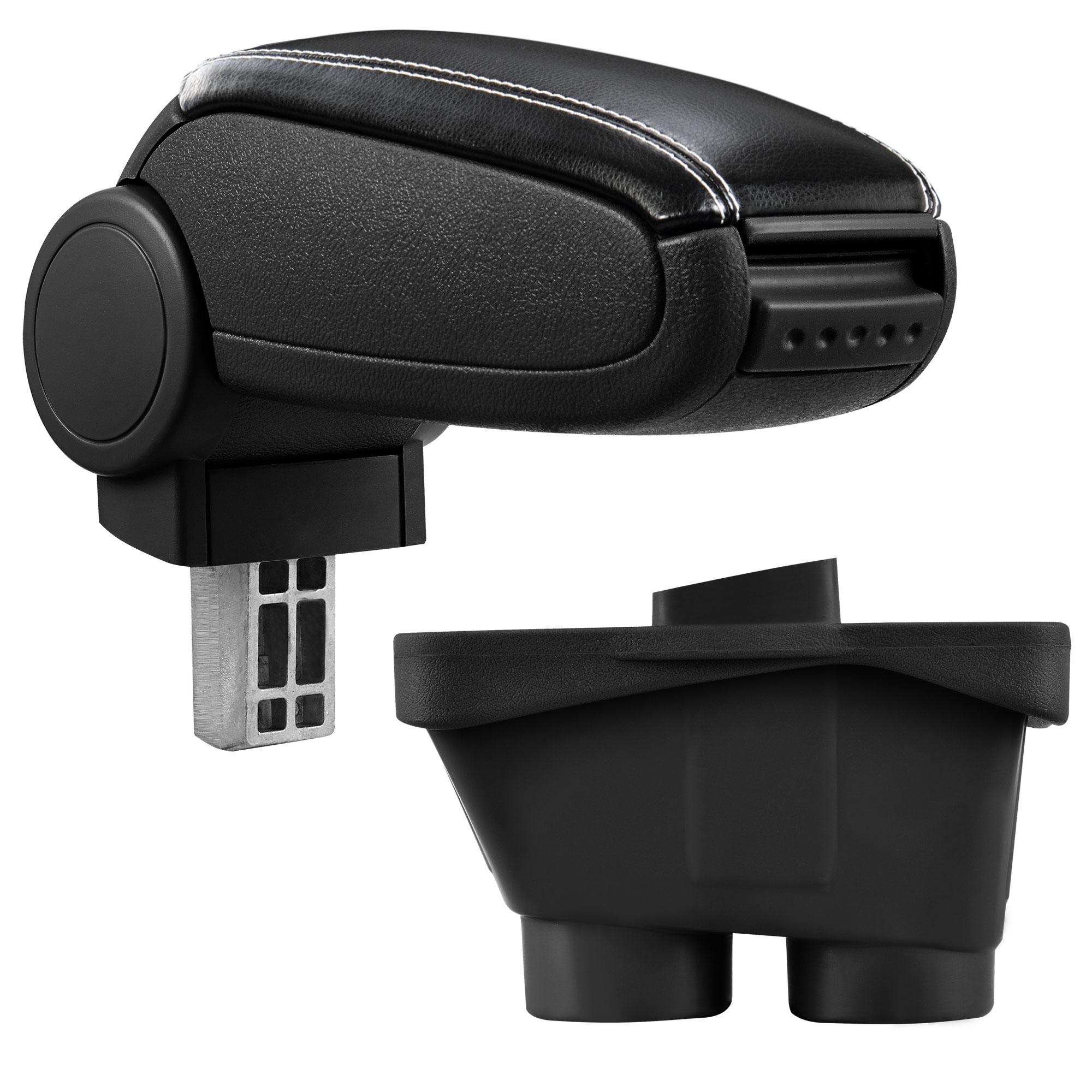 Středová loketní opěrka - vhodná pro: Peugeot 208 (Rok výroby od 2012, 3dv/5dv) - umělá kůže - Černá s bílými švy