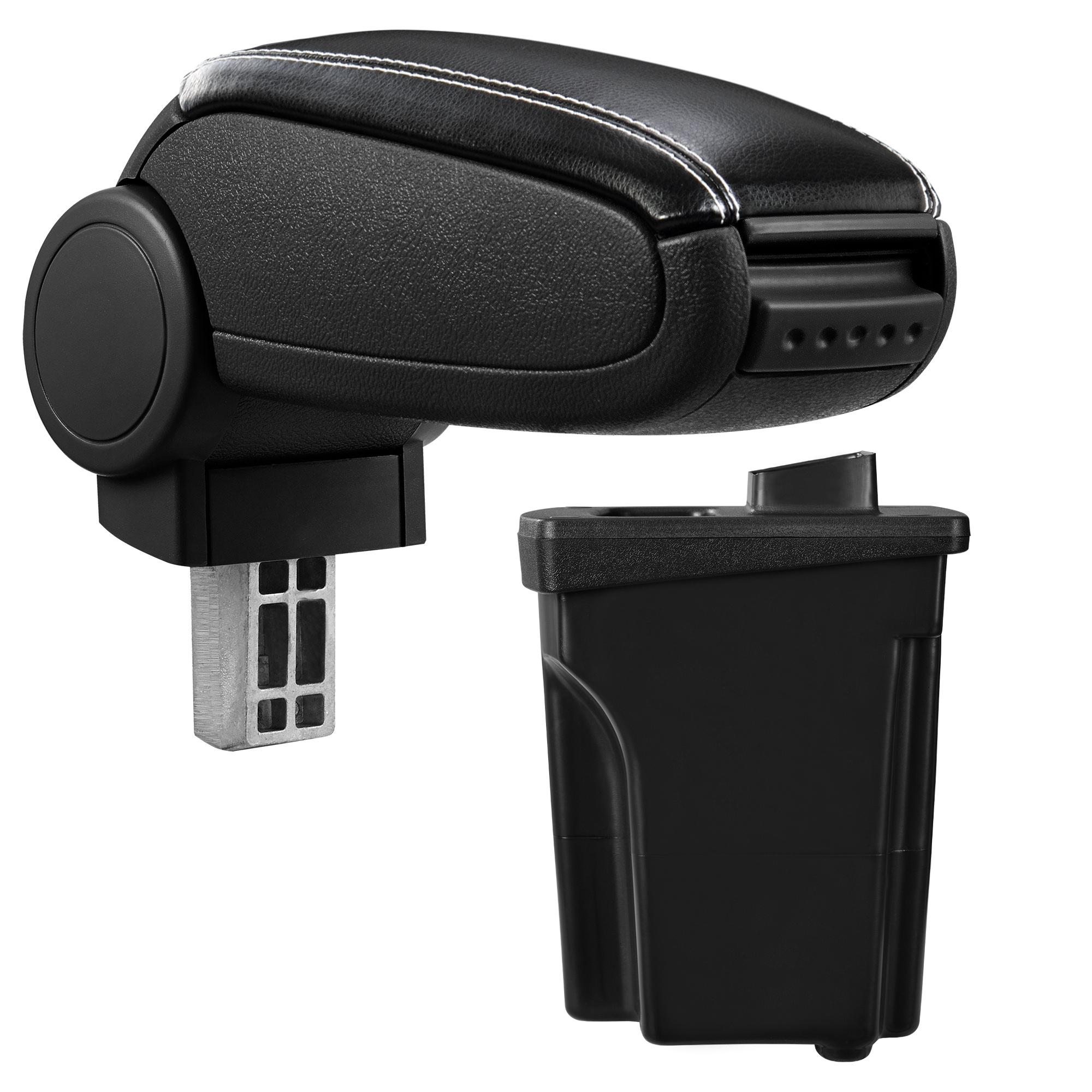 Středová loketní opěrka - vhodná pro: Hyundai I30 GD (od 2012) - umělá kůže - Černá s bílými švy
