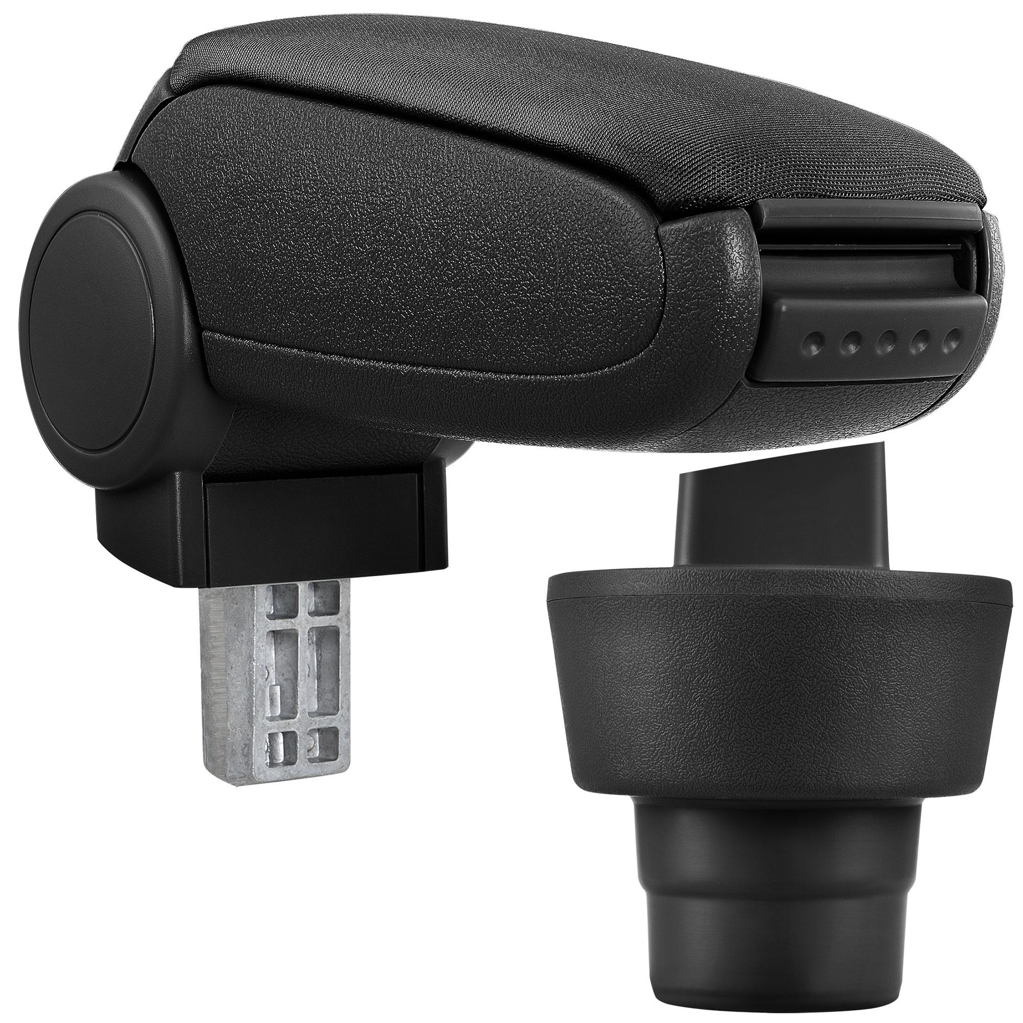 Středová loketní opěrka - vhodná pro: BMW Mini (1. generace / 2001–2006) - Látkový potah (plochá tkanina) - Černá s černými švy