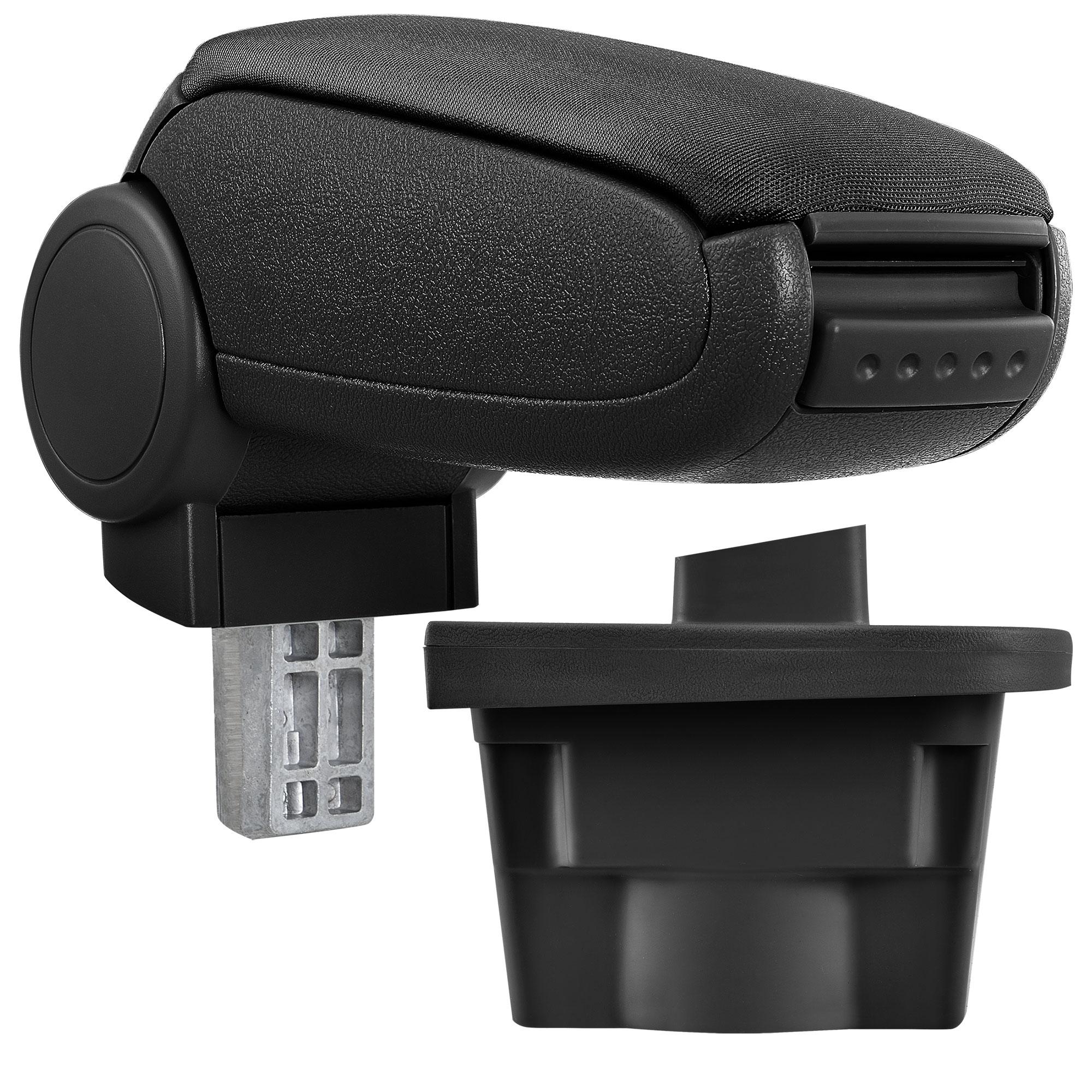 Středová loketní opěrka - vhodná pro: Opel Astra J - Látkový potah (plochá tkanina) - Černá s černými švy