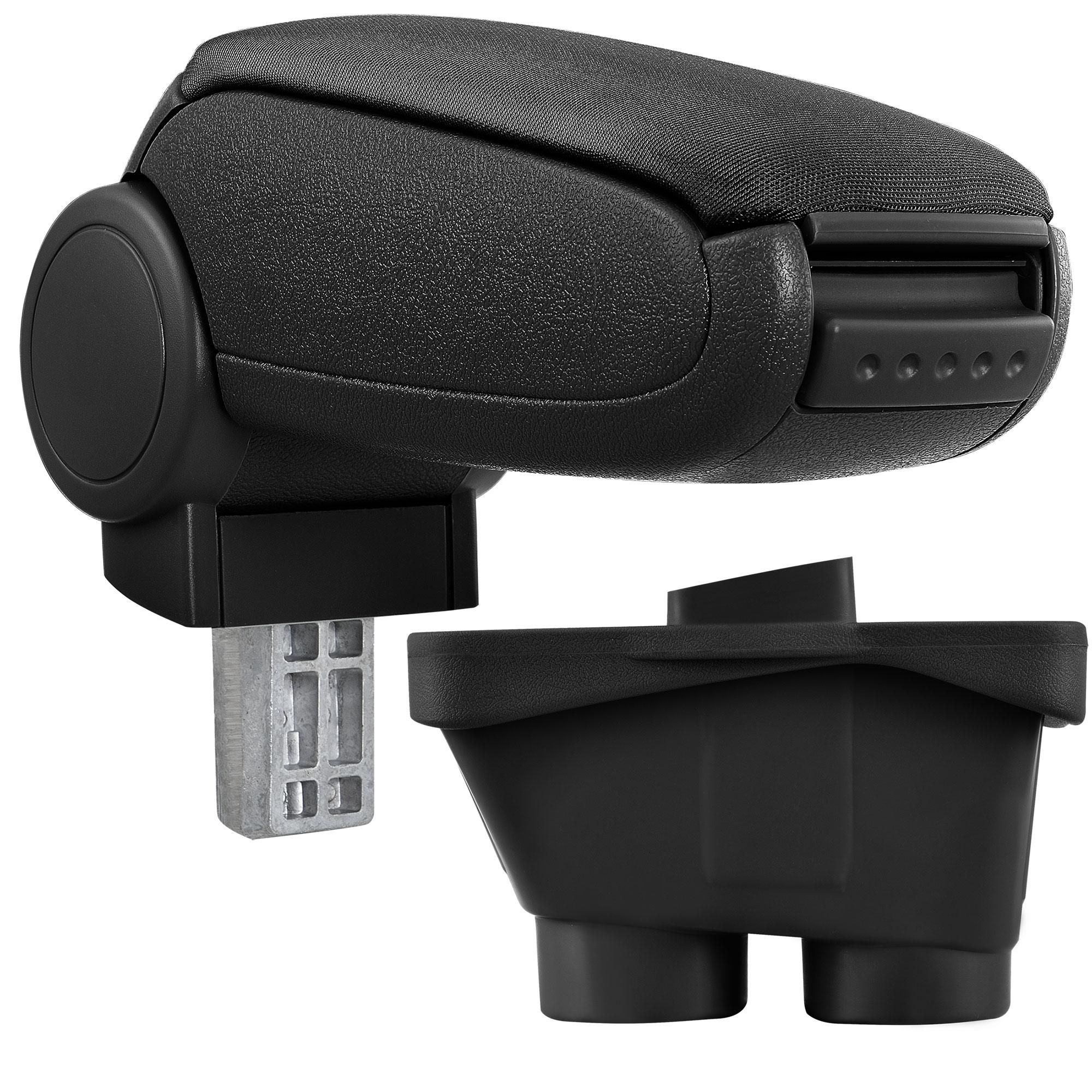 Středová loketní opěrka - vhodná pro: Peugeot 208 (Rok výroby od 2012, 3dv/5dv) - Látkový potah (plochá tkanina) - Černá s černými švy