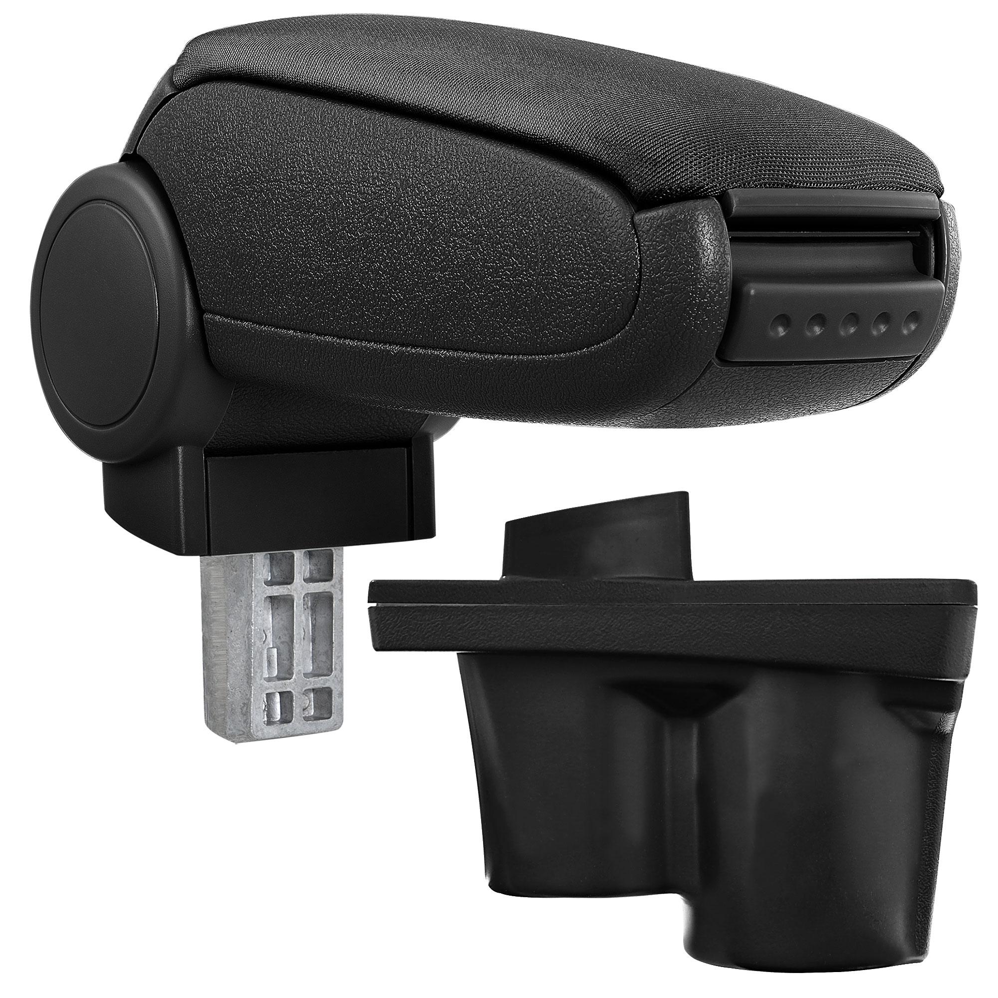 Středová loketní opěrka - vhodná pro: Opel Adam - Látkový potah (plochá tkanina) - Černá s černými švy