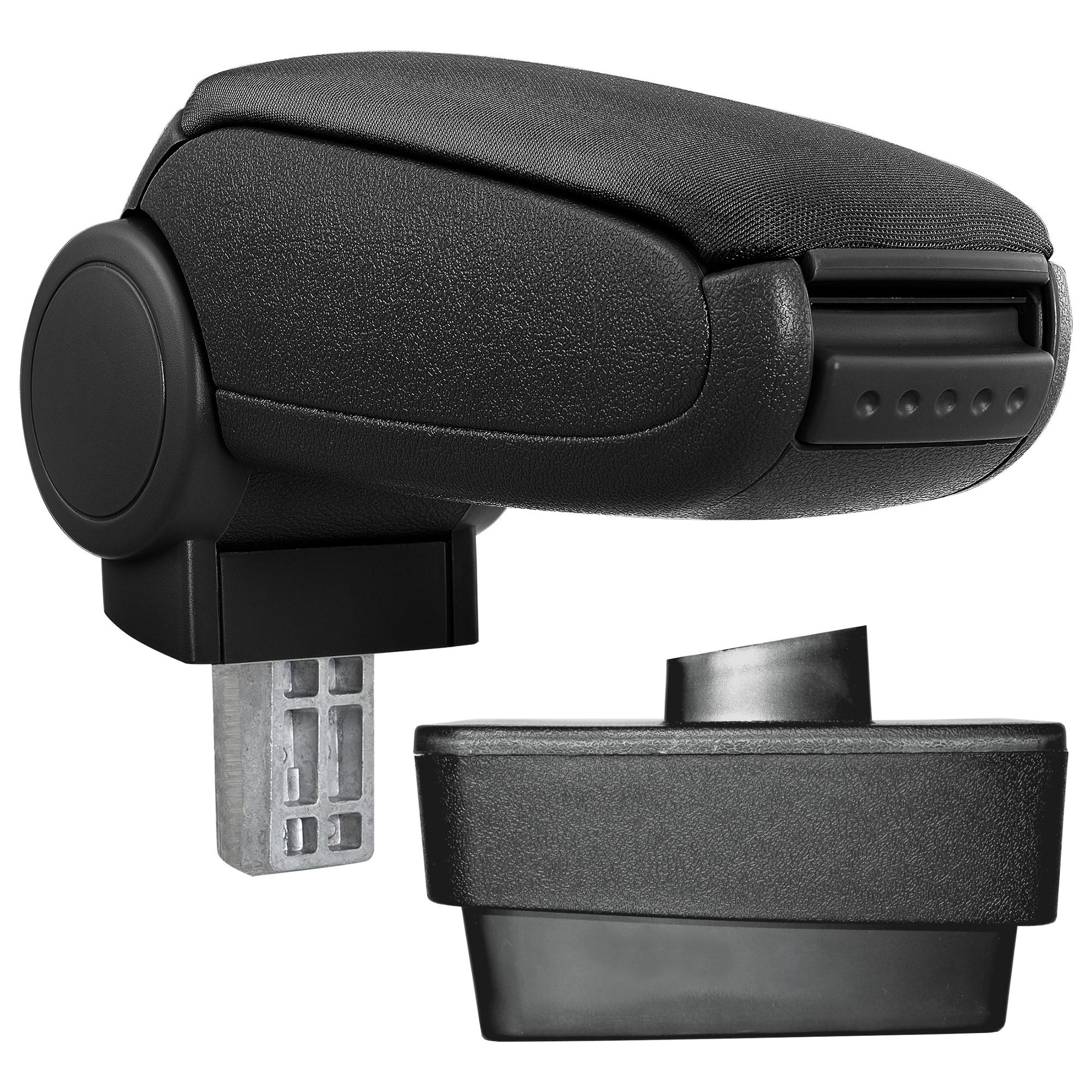 Středová loketní opěrka - vhodná pro: Škoda Fabia III (Typ NJ) - Látkový potah (plochá tkanina) - Černá s černými švy