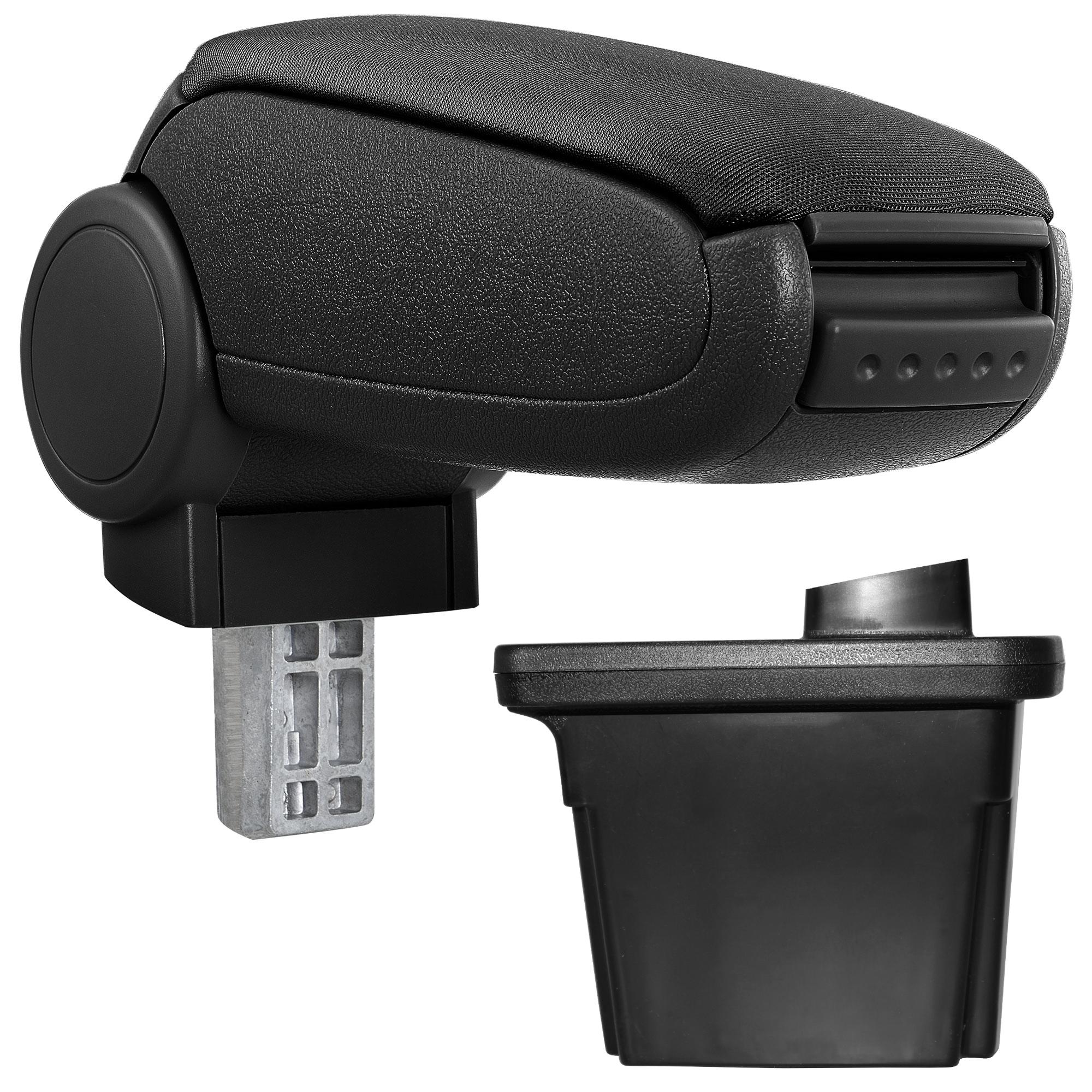 Středová loketní opěrka - vhodná pro: Hyundai i30 (2007-2012) - Látkový potah (plochá tkanina) - Černá s černými švy