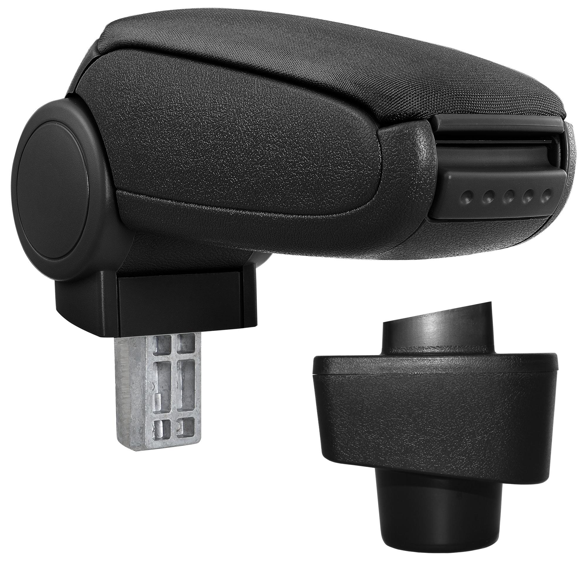 Středová loketní opěrka - vhodná pro: Renault Captur - Látkový potah (plochá tkanina) - Černá s černými švy