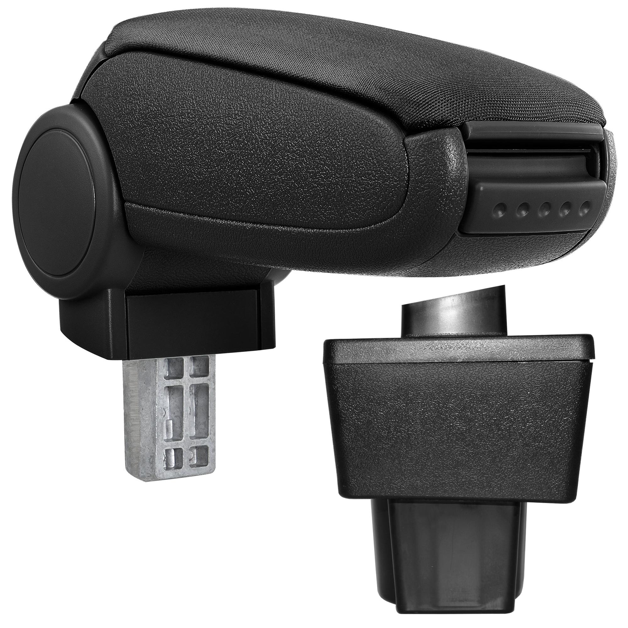 Středová loketní opěrka - vhodná pro: Škoda Yeti, Model 1 od 2009 - Látkový potah (plochá tkanina) - Černá s černými švy