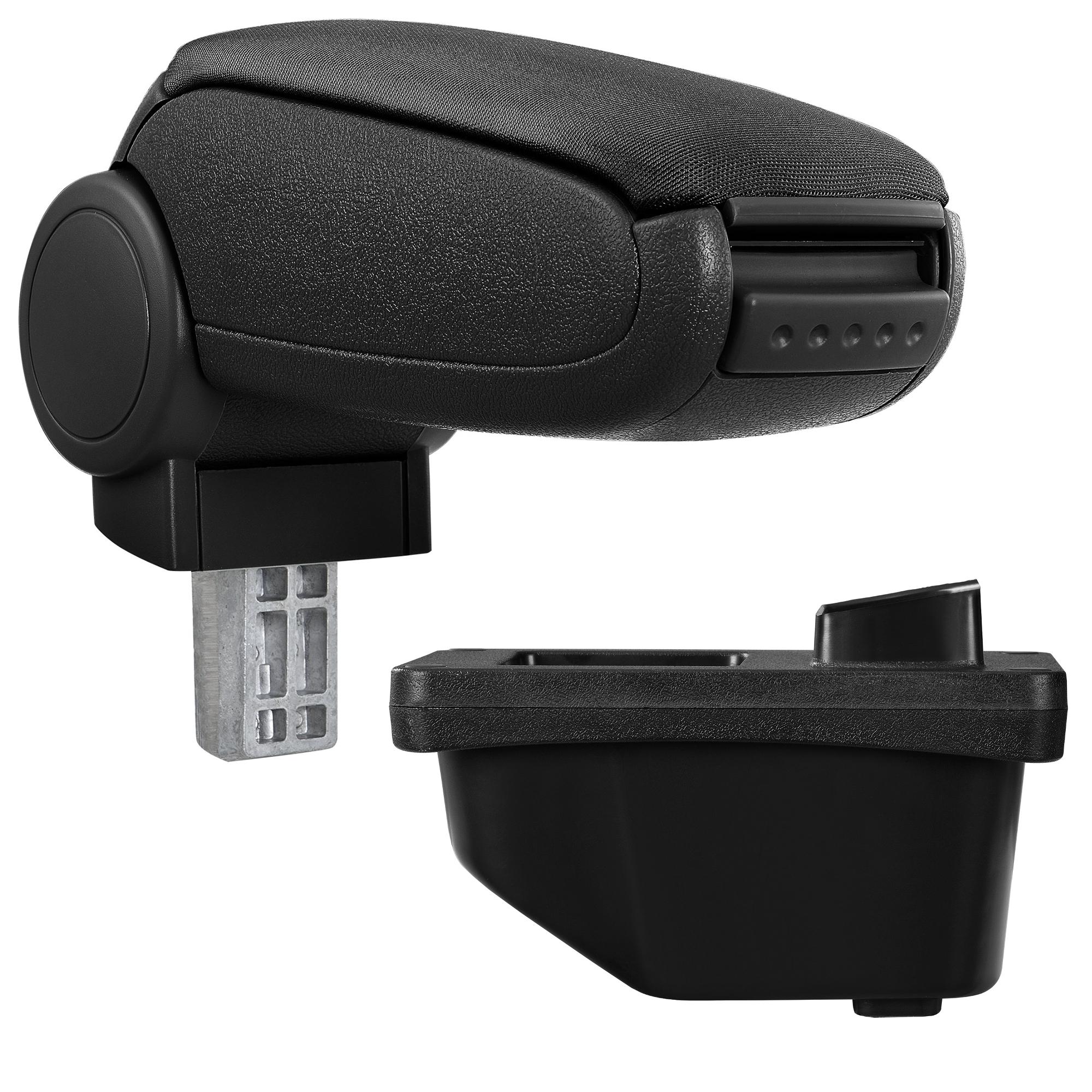 Středová loketní opěrka - vhodná pro: Peugeot 308 I (Rok výroby 2007-2015 / 3dv/5dv, SW und CC) - Látkový potah (plochá tkanina) - Černá s černými švy
