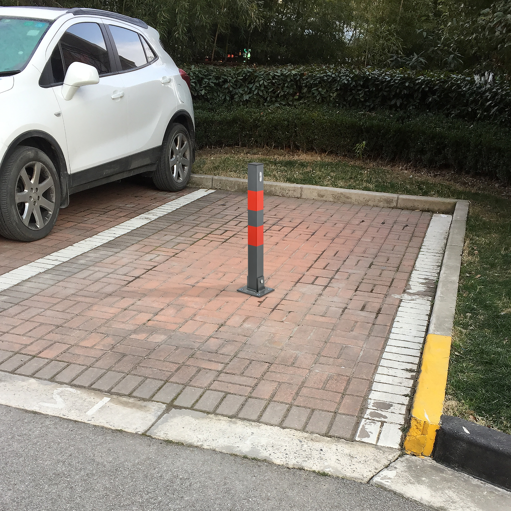 neu.haus]® parkplatzpfosten klappbar poller parkplatzsperre