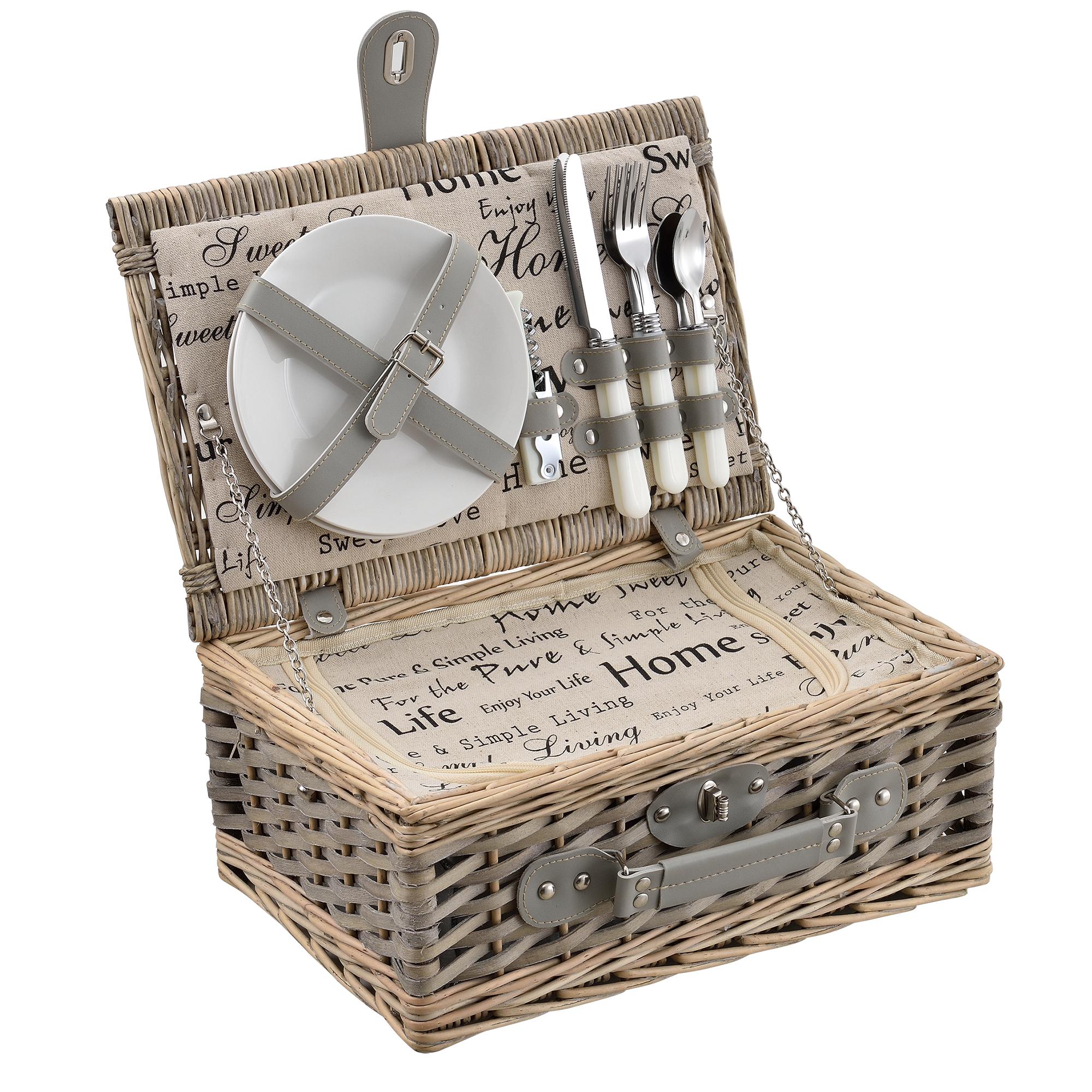 picknickkorb f r 2 4 personen k hltasche. Black Bedroom Furniture Sets. Home Design Ideas