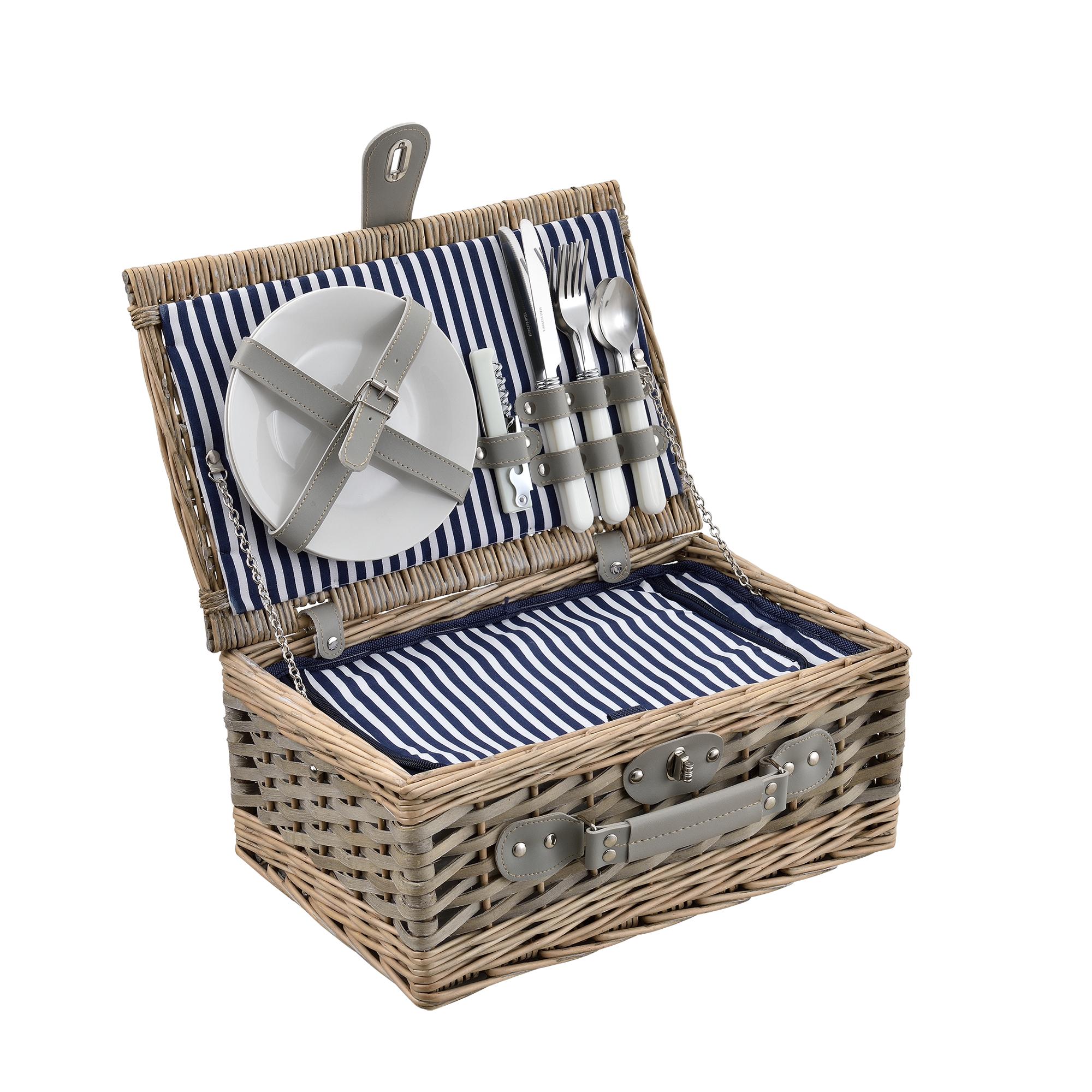 picknickkorb f r 2 4 personen k hltasche camping set korb besteck. Black Bedroom Furniture Sets. Home Design Ideas