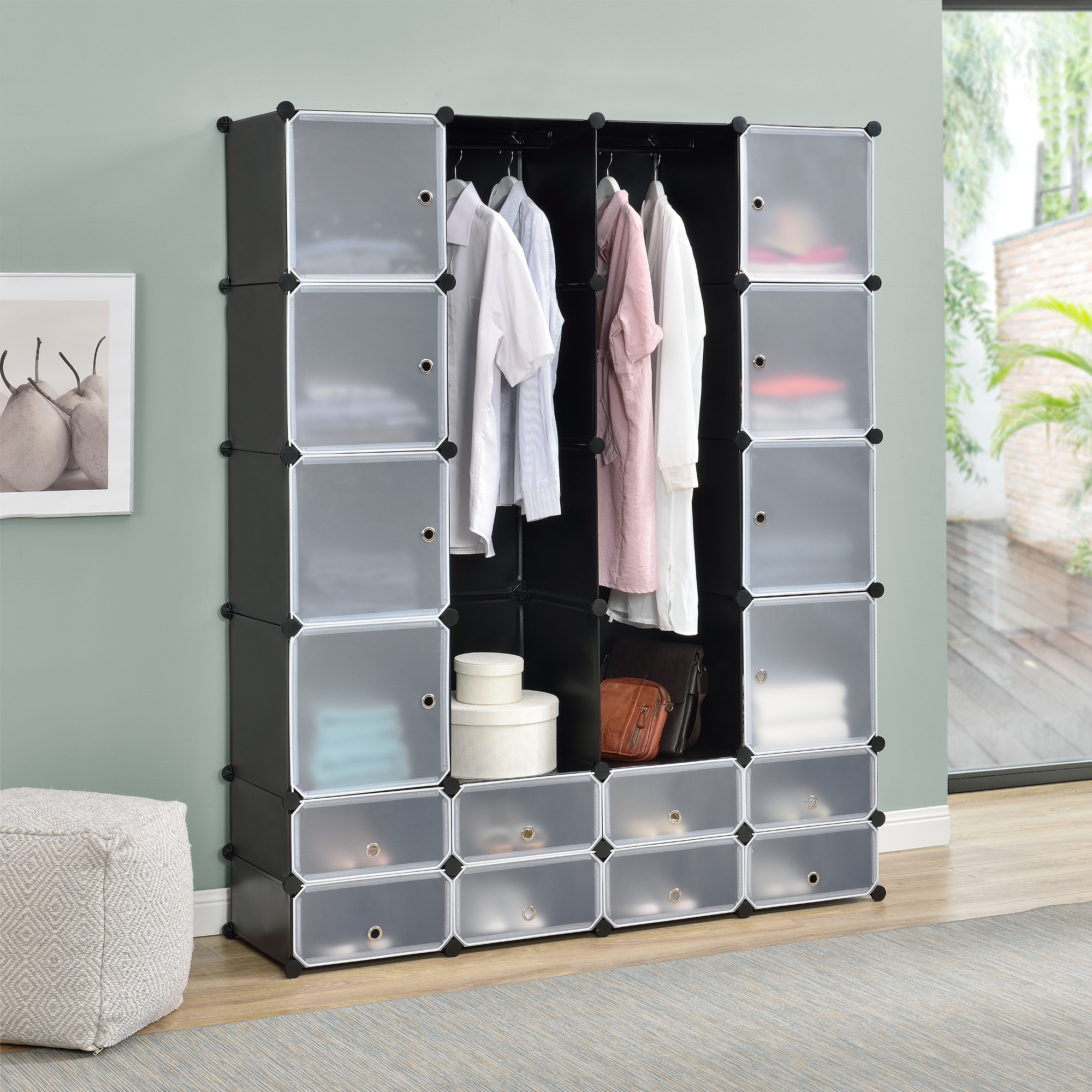 diy system regal schrank 16 t ren 180x145cm schwarz wei steck b ro ebay. Black Bedroom Furniture Sets. Home Design Ideas