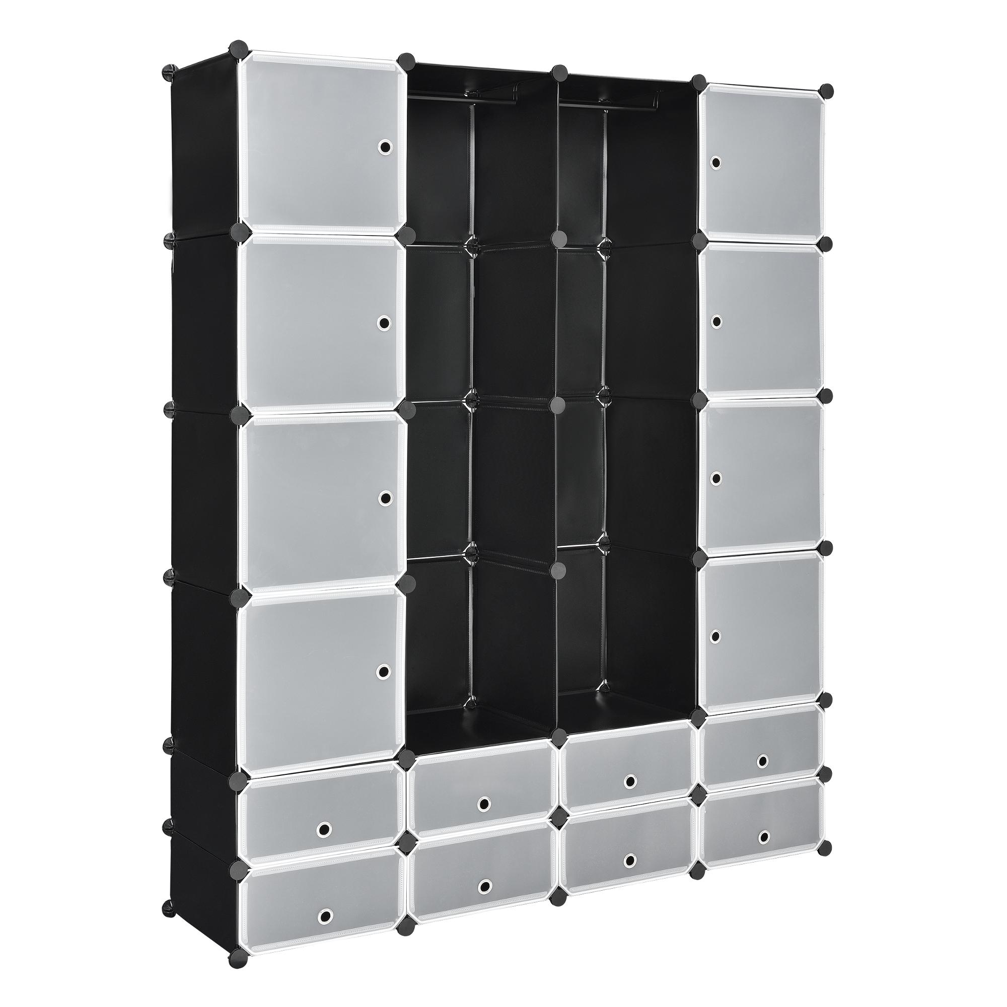 Diy steckregal kunststoff  DIY System Regal Schrank 16 Türen 180x145cm Schwarz/Weiß Steck Büro ...