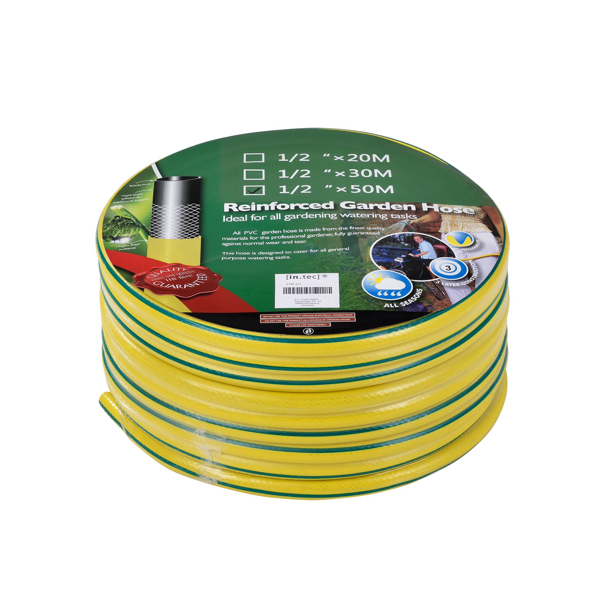 [in.tec]® Zahradní hadice / kropicí hadice,žlutá zelený proužek,50 m,1/2