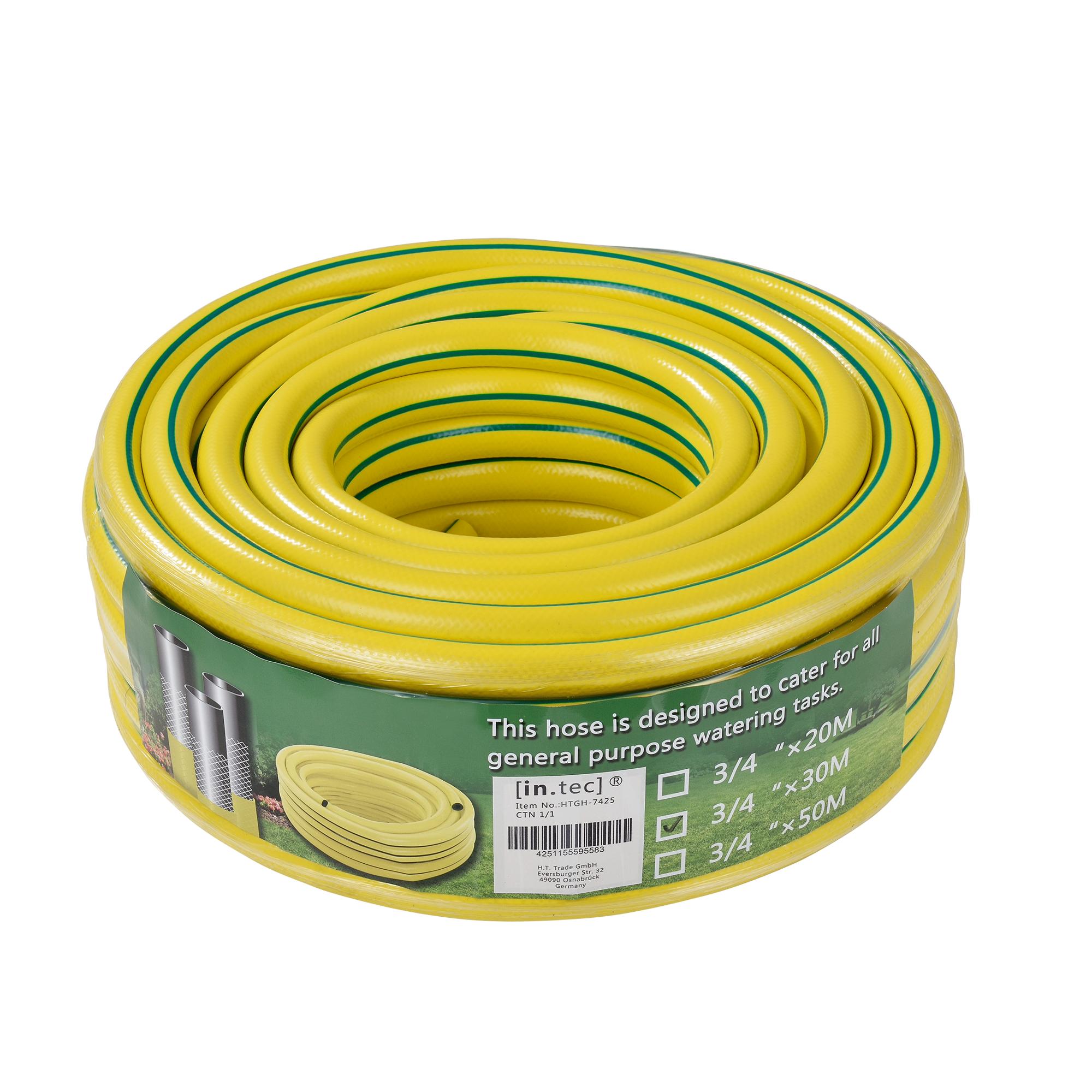 [in.tec]® zahradní hadice / kropicí hadice ,žlutá zelená proužek,30 m,3/4