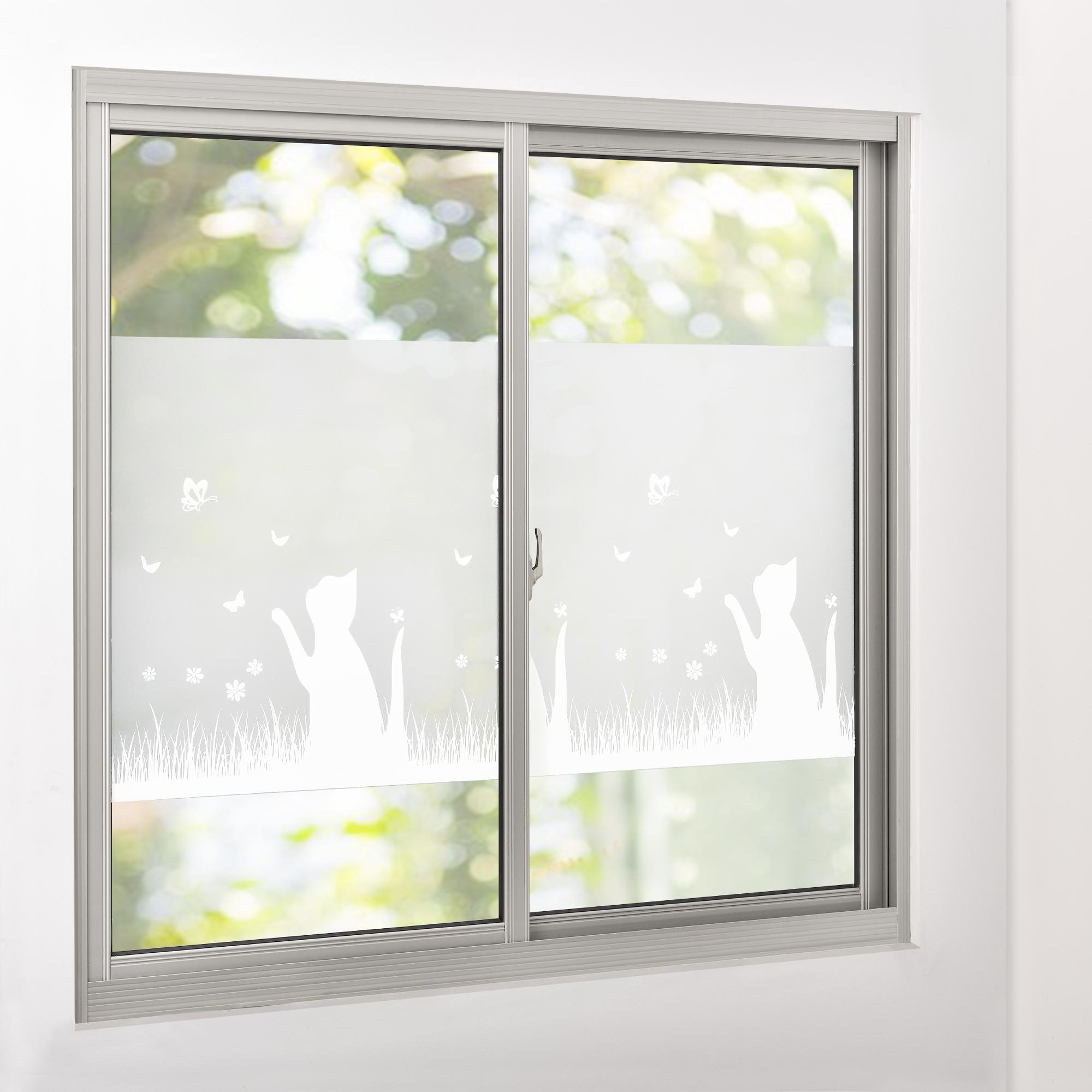 sichtschutzfolie milchglas katze 67 5 cm x 1 m statisch fenster 4059438088926 ebay. Black Bedroom Furniture Sets. Home Design Ideas