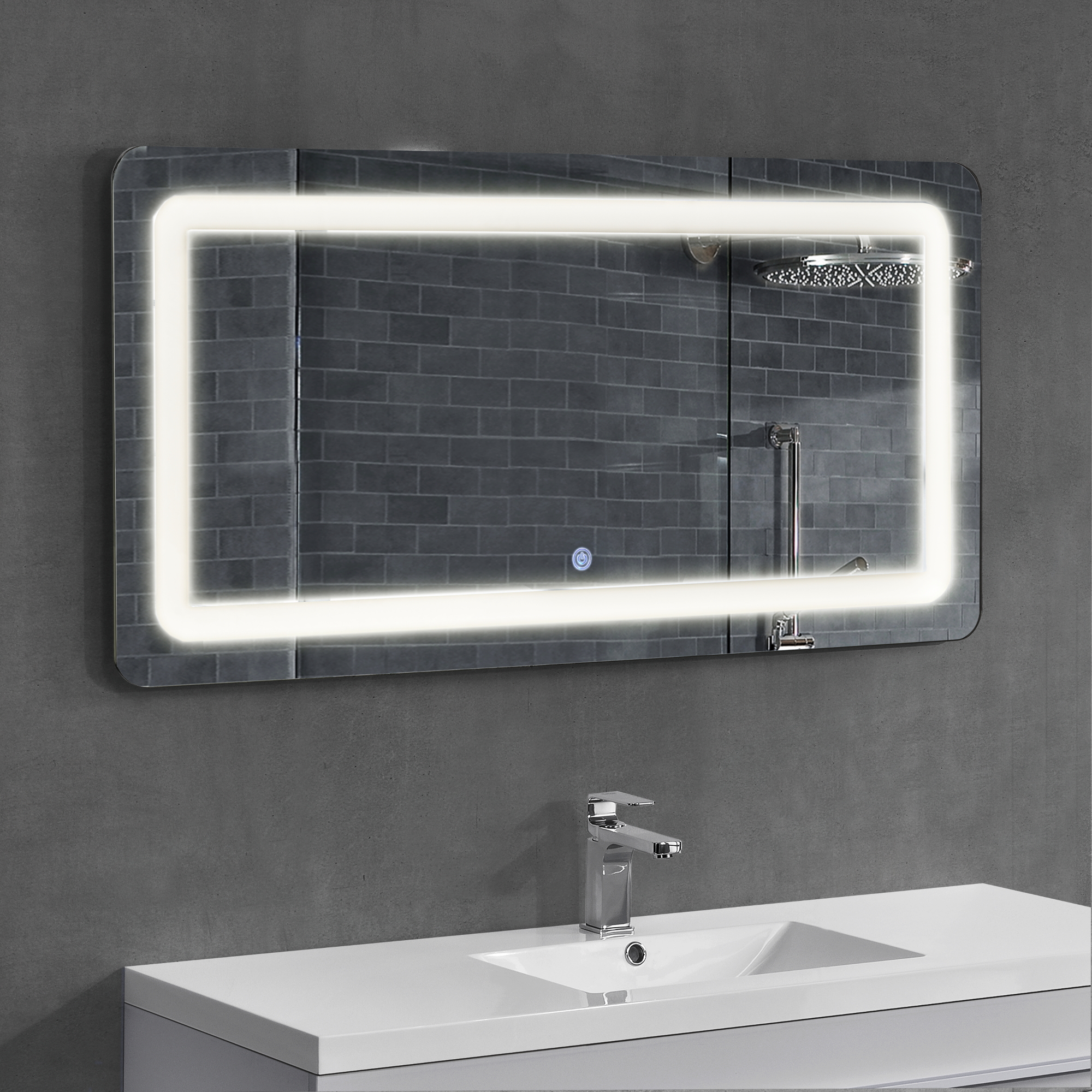 led badezimmerspiegel wandspiegel licht spiegel design 50 x 70 cm ebay. Black Bedroom Furniture Sets. Home Design Ideas