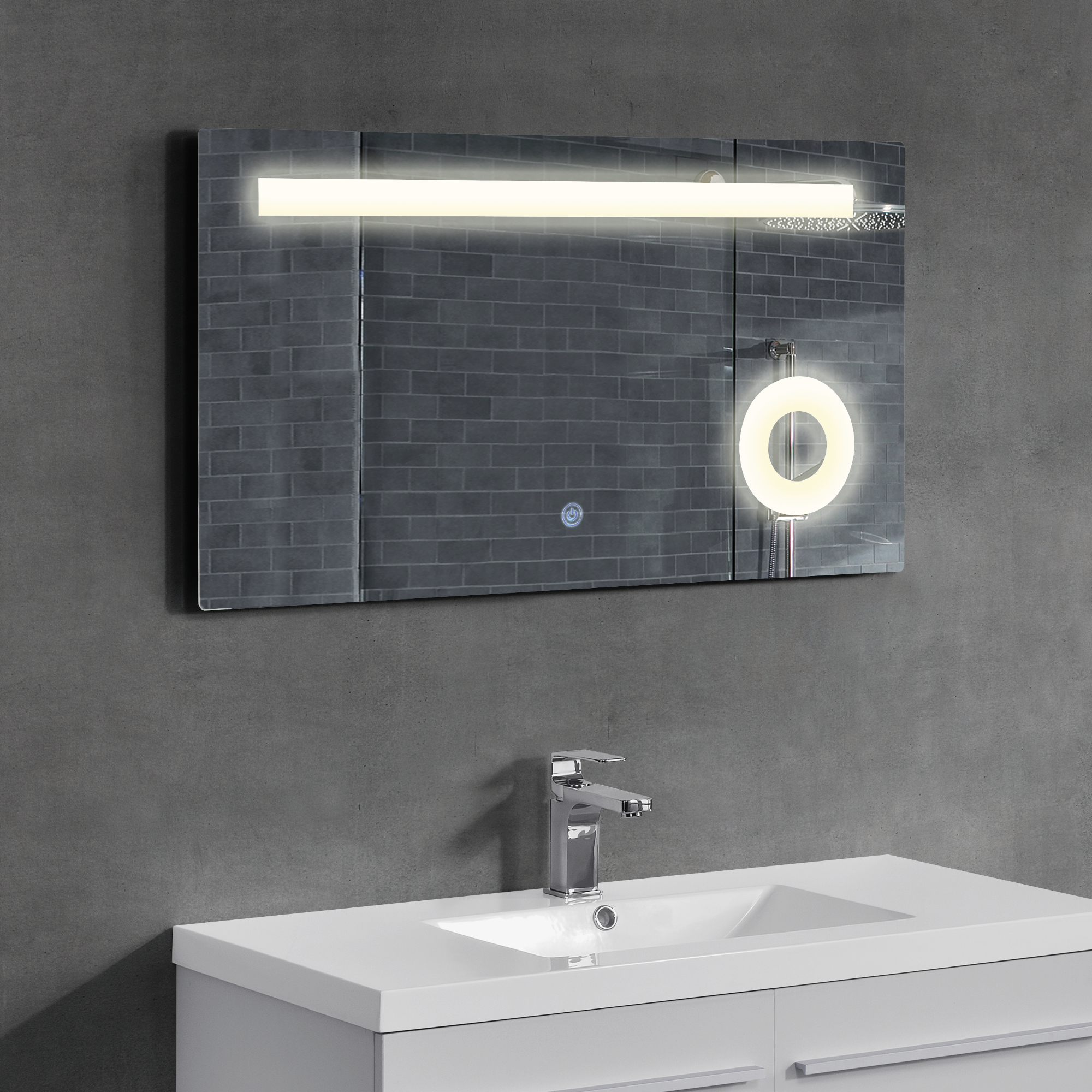Neuhaus led miroir de la salle bain mural cosm tique 50 for Miroir salle de bain 90 x 90