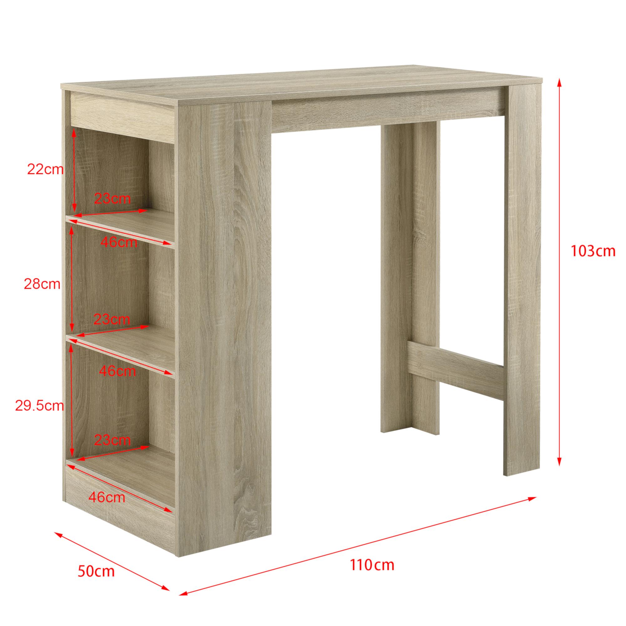 Table Haute Avec Rangement détails sur table de bar avec rangement table bistro haut avec 3 Étagères  110x50x103cm chêne