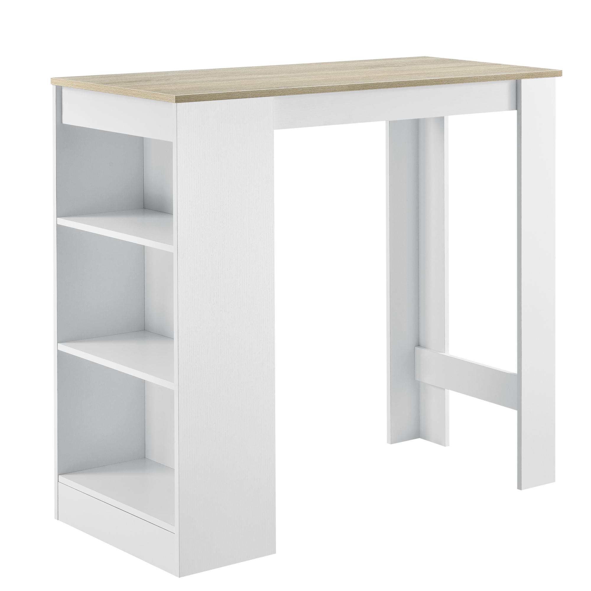 Table Haute Avec Rangement détails sur table de bar avec rangement table bistro 3 Étagères  110x50x103cm blanc chêne