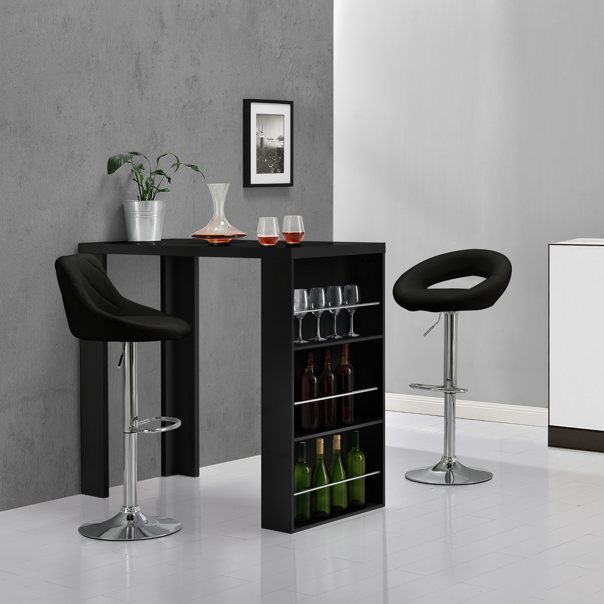 bartheke schwarz bartresen bartisch stehtisch theke tresen bar hausbar ebay. Black Bedroom Furniture Sets. Home Design Ideas