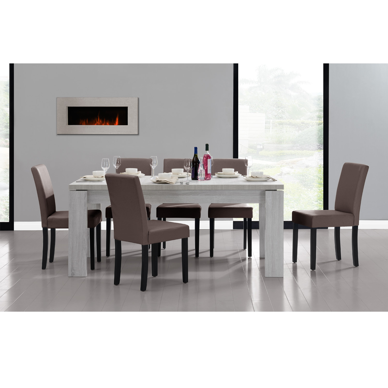 Detalles de [en.casa]® Set comedor mesa 170x79 roble blanco + 6 sillas  marrones tapizadas