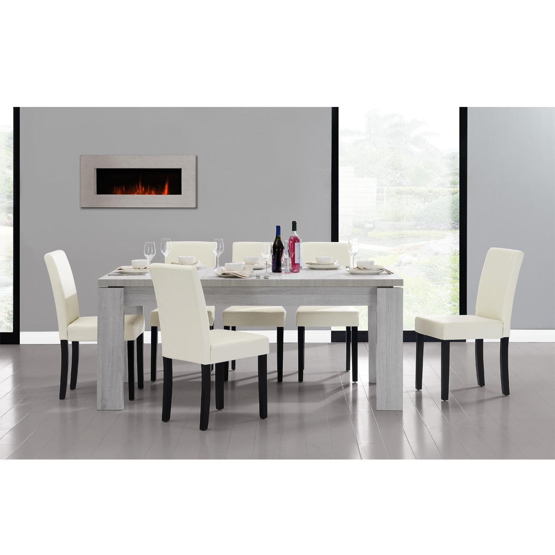 Detalles de [en.casa]® Set comedor mesa 170x79 roble blanco + 6 sillas  crema tapizadas