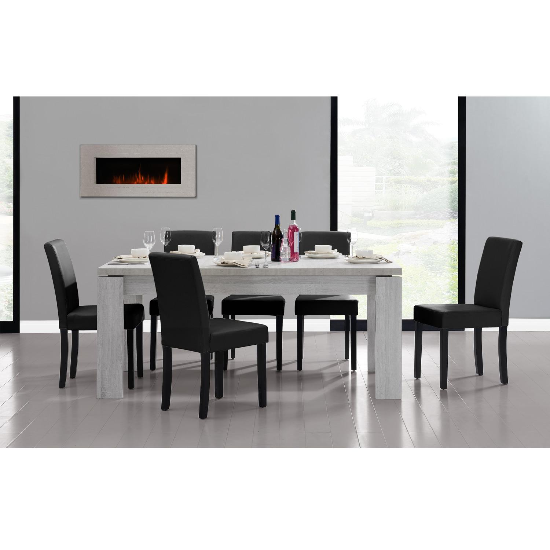 esstisch 180x95 eiche weiss 6 st hle schwarz esszimmer tisch neu 4260390268602 ebay. Black Bedroom Furniture Sets. Home Design Ideas