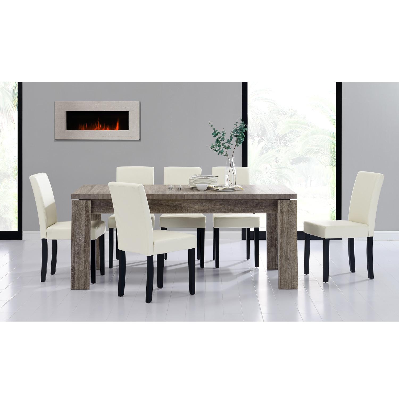 En Casa Table A Manger 170x79 Chene Bois Antique 6 Chaises Creme