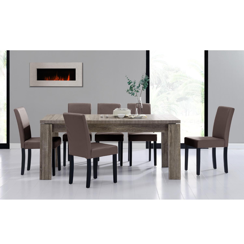 Detalles de [en.casa]® Set comedor mesa 170x79 roble madera antigua + 6  sillas tapizadas