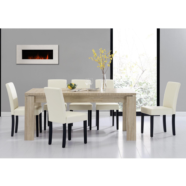 Detalles de [en.casa]® Set comedor mesa 170x79 roble a la cal + 6 sillas  crema tapizadas