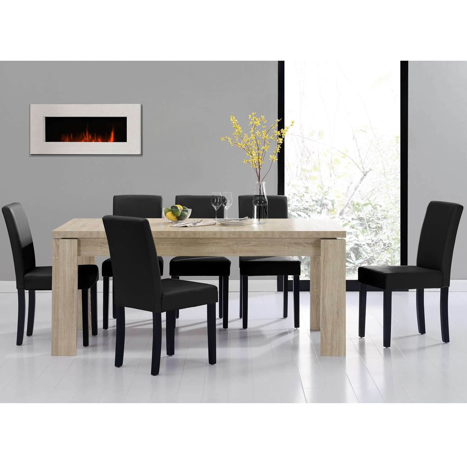DINING TABLE 180x95 LIMED OAK 6 CHAIRS BLACK DINING ROOM TABLE NE