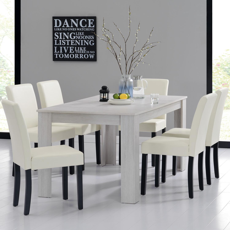 [en.casa]® Jídelní sestava 1 x stůl HTFU2336 + 6 x židle HTMY-9704