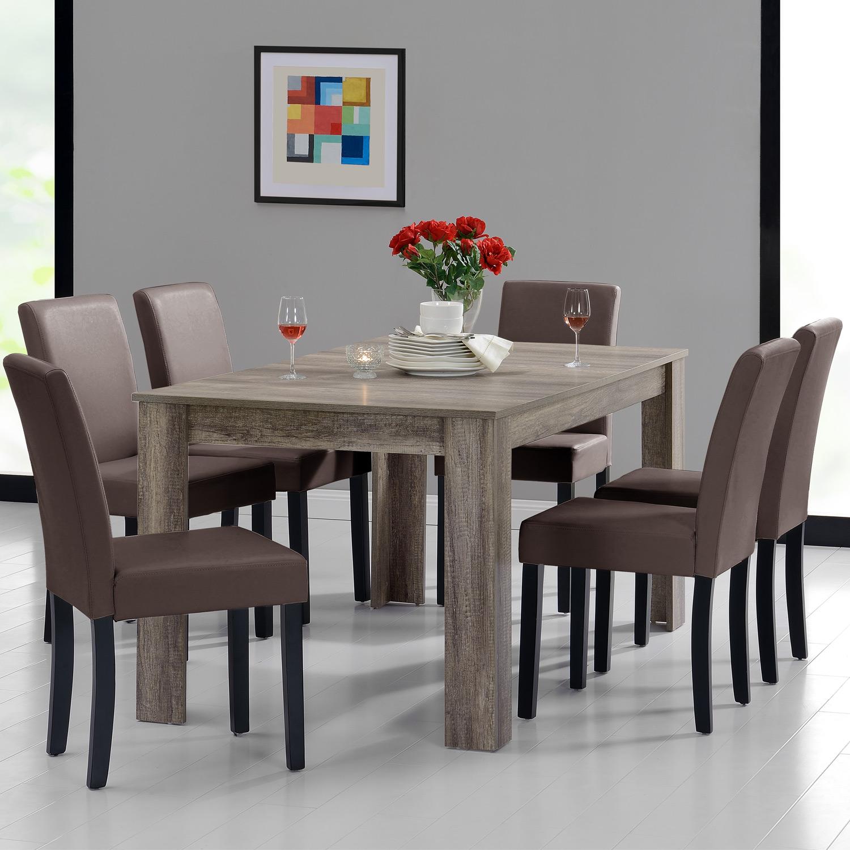 Tavolo da Pranzo 160x90 Rovere Legno Antico + 6 Sedie Marrone Sala ...