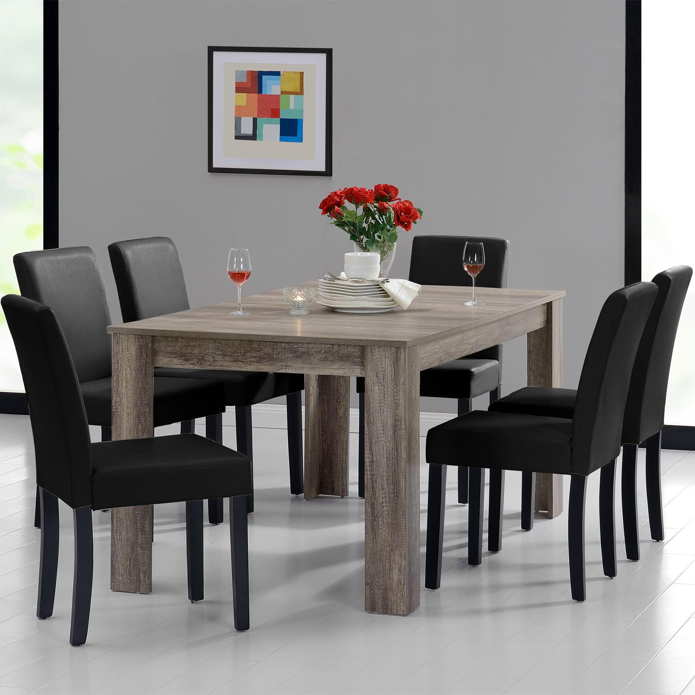 [en.casa]® Jídelní sestava 1 x stůl HTFU2337 + 6 x židle HTMY-9706