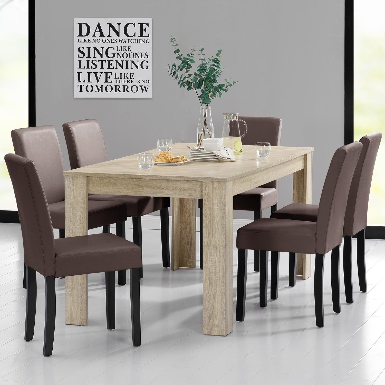 Detalles de [en.casa]® Set de comedor mesa 160x90 roble a la cal + 6 sillas  marrones
