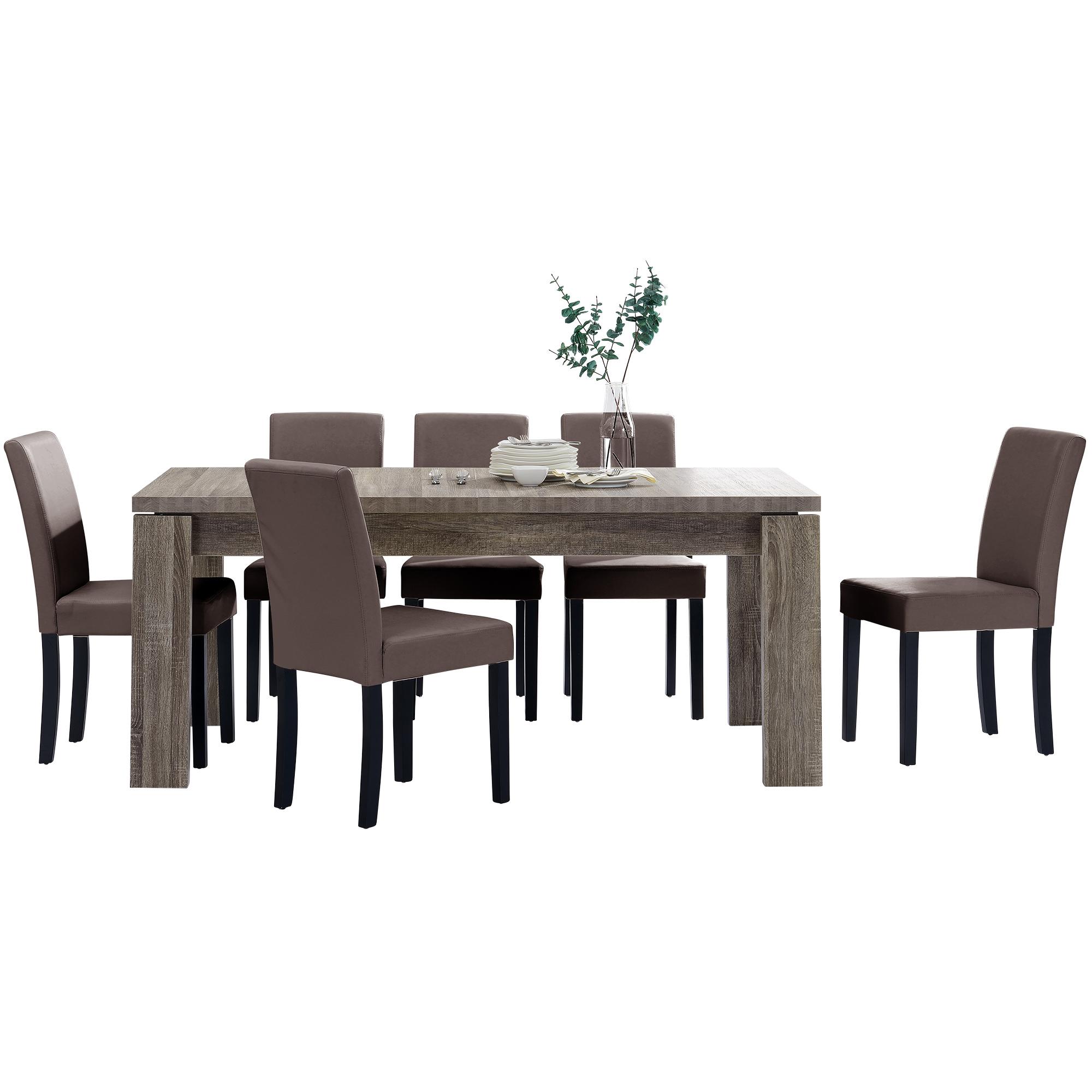 [en.casa]® Jídelní sestava 1 x stůl HTFU2334 + 6 x židle HTMY-9705