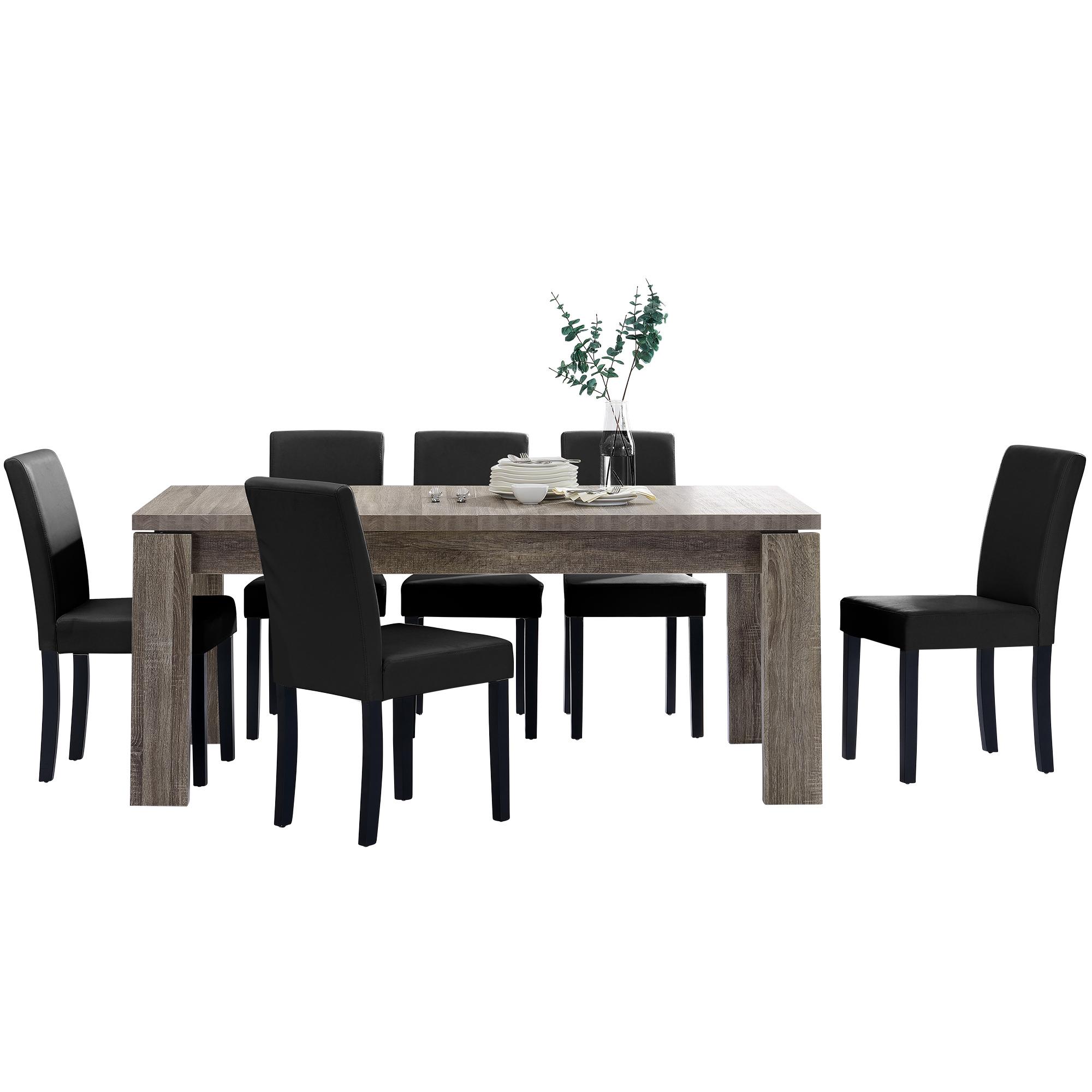 [en.casa]® Jídelní sestava 1 x stůl HTFU2334 + 6 x židle HTMY-9706