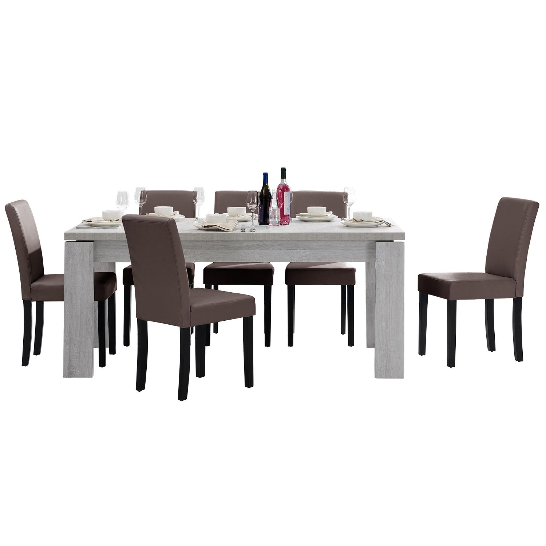 [en.casa]® Jídelní sestava 1 x stůl HTFU2333 + 6 x židle HTMY-9705