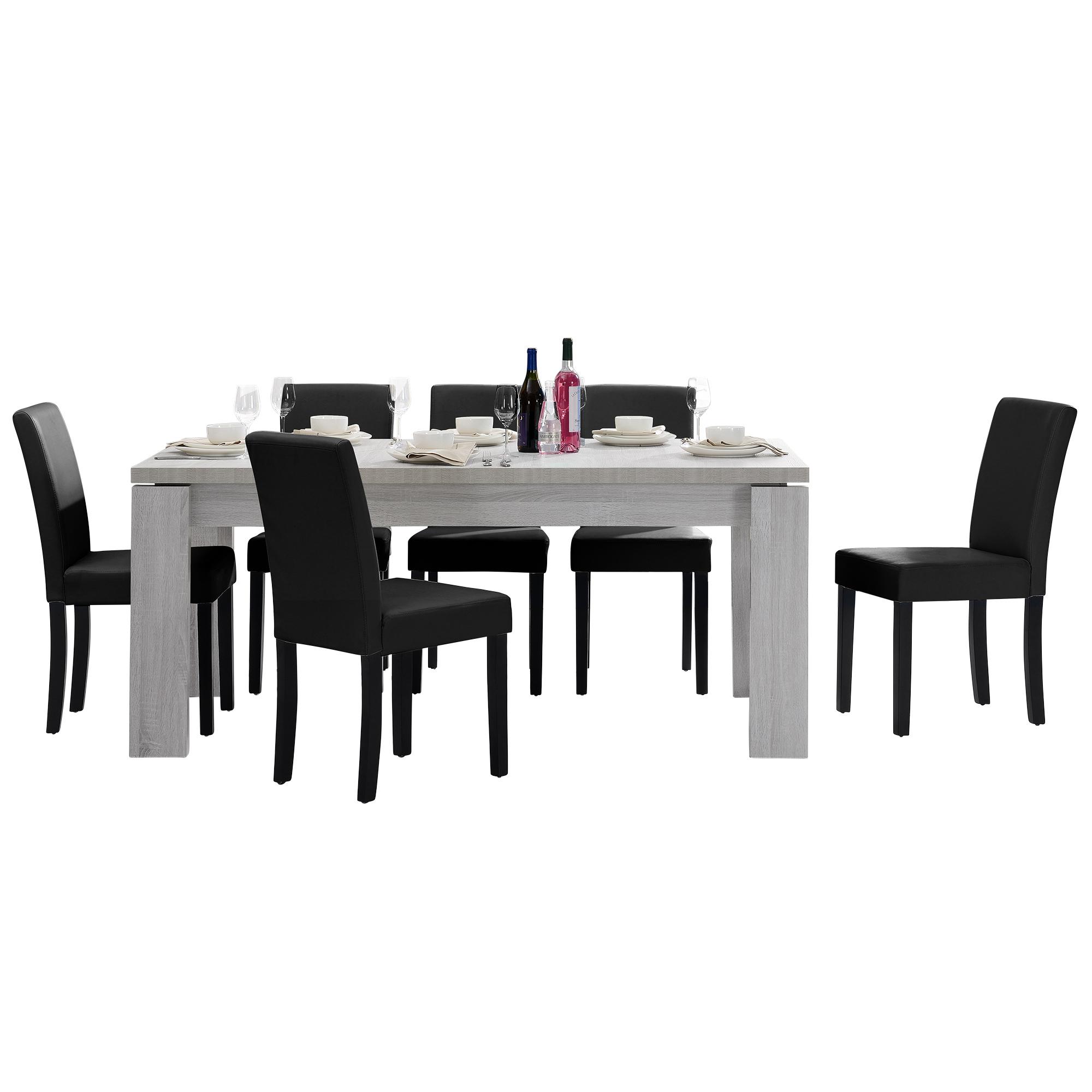 [en.casa]® Jídelní sestava 1 x stůl HTFU2333 + 6 x židle HTMY-9706