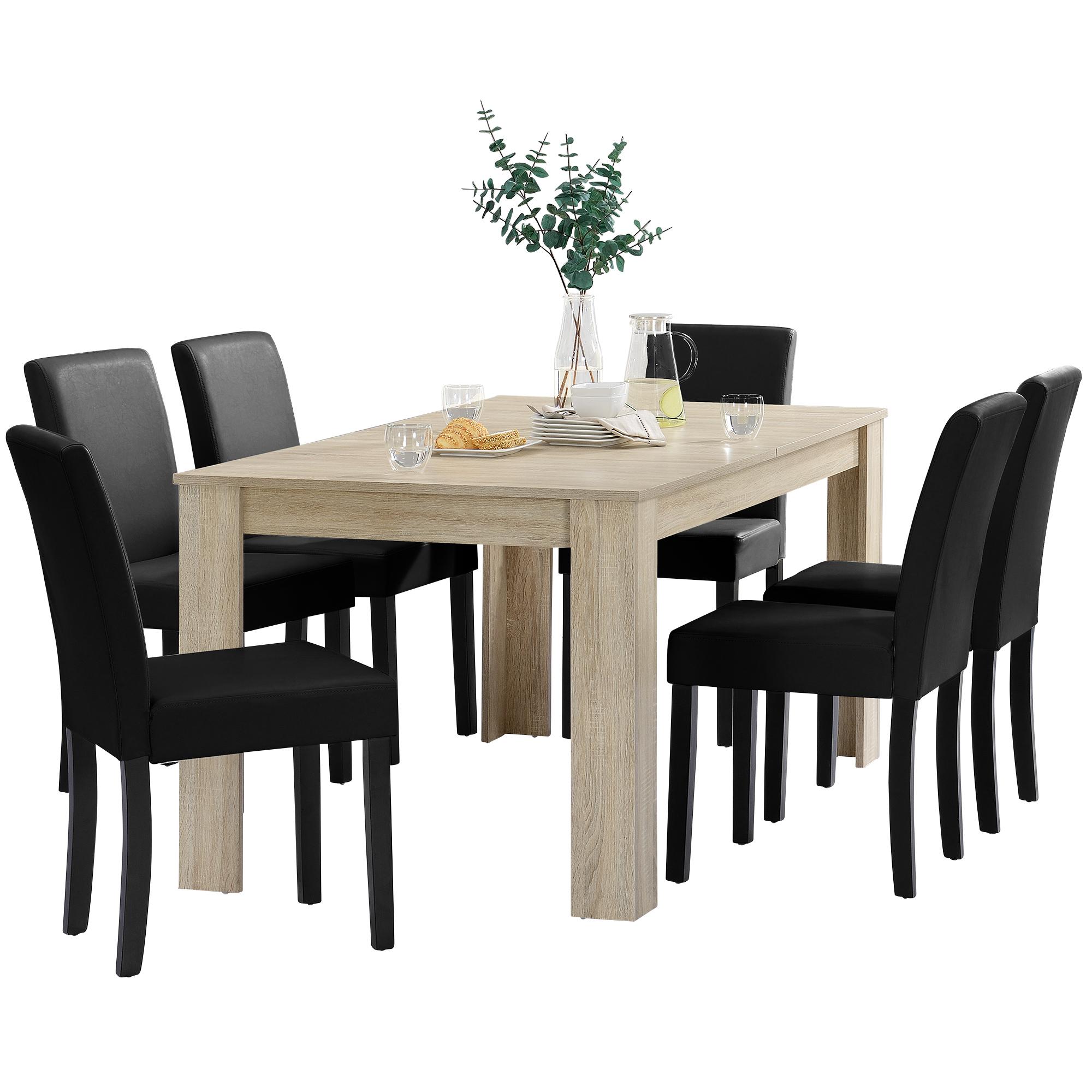 Détails sur [en.casa]® Table de salle à manger 160x90 chêne blanc cérusé +  6 chaises noir