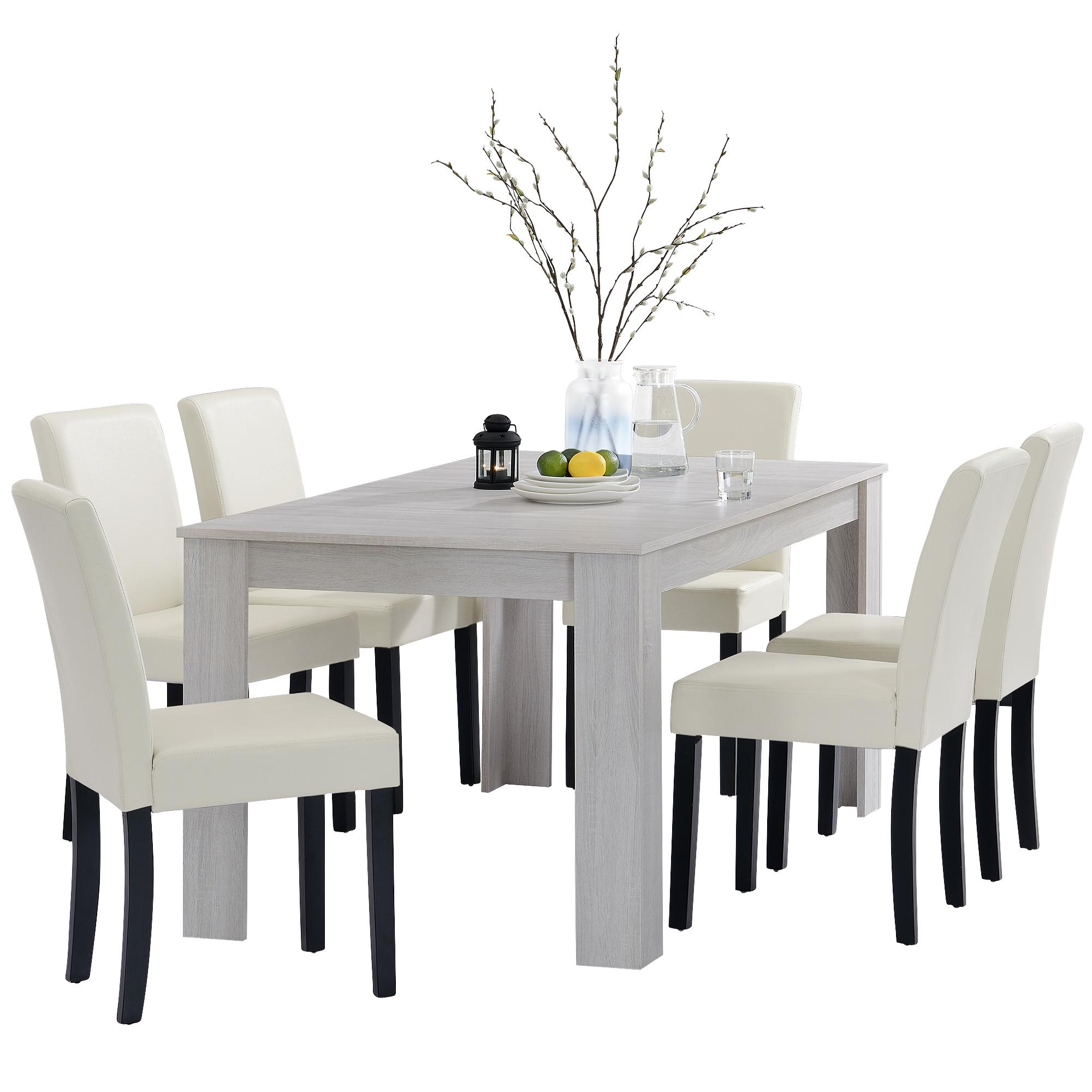 Detalles de [en.casa]® Set comedor mesa 160x90 roble blanco + 6 sillas  crema tapizadas