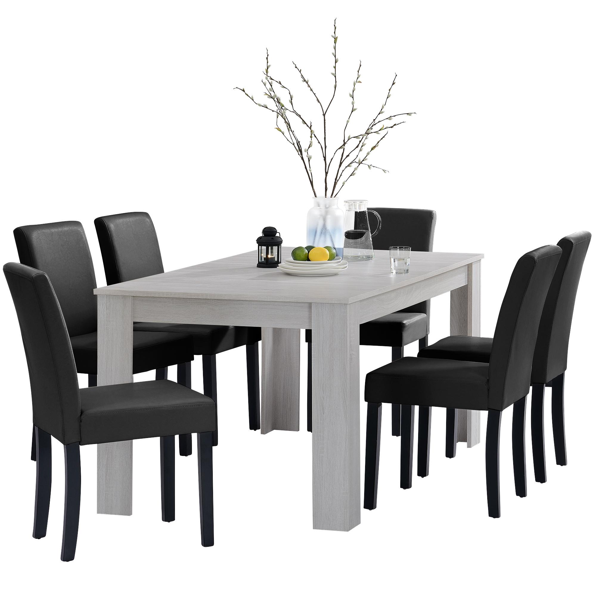 [en.casa]® Jídelní sestava 1 x stůl HTFU2336 + 6 x židle HTMY-9706