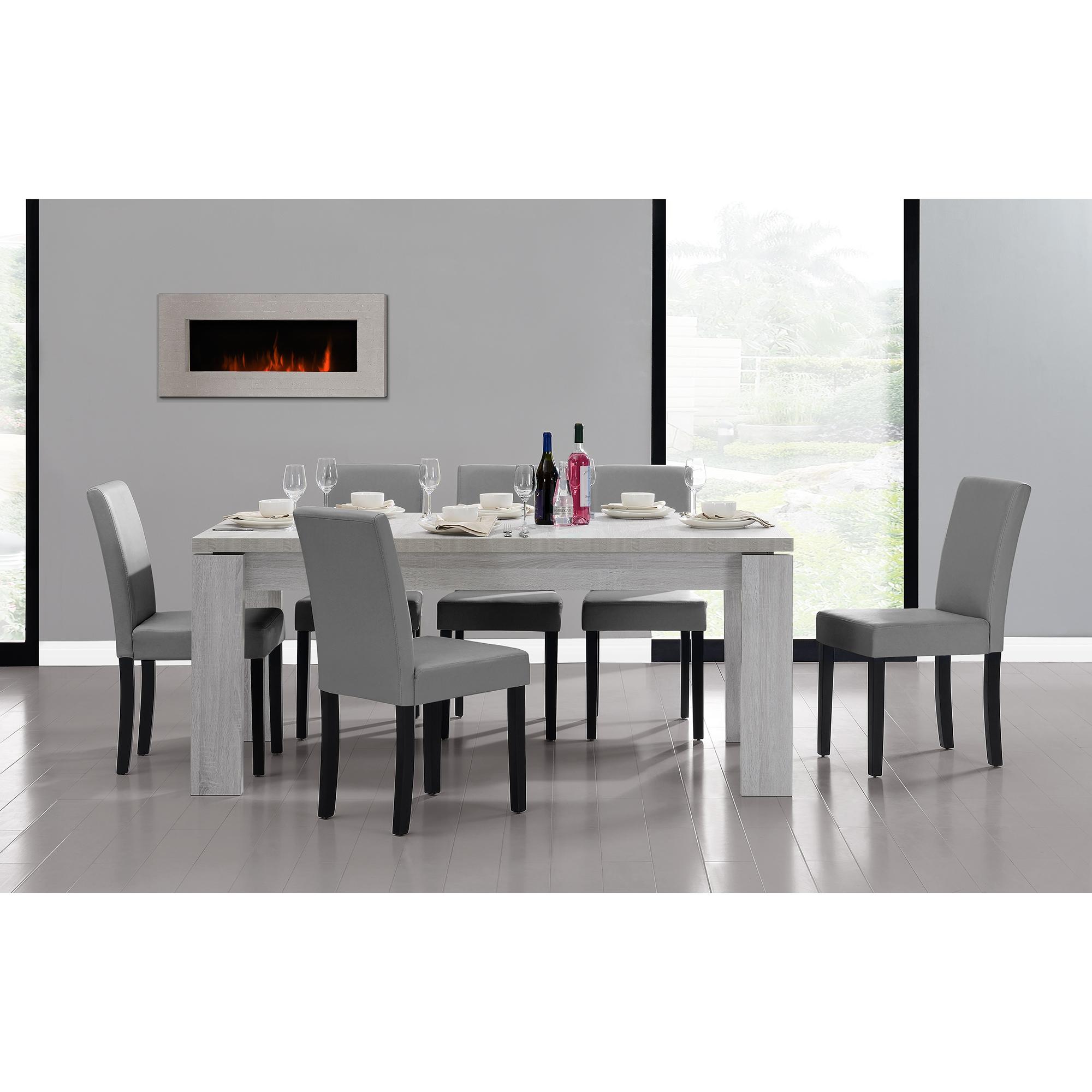 Tavolo Bianco E Sedie Grigie.Dettagli Su Tavolo Da Pranzo 170x79 Rovere Bianco 6 Sedie Grigio Chiaro Sala