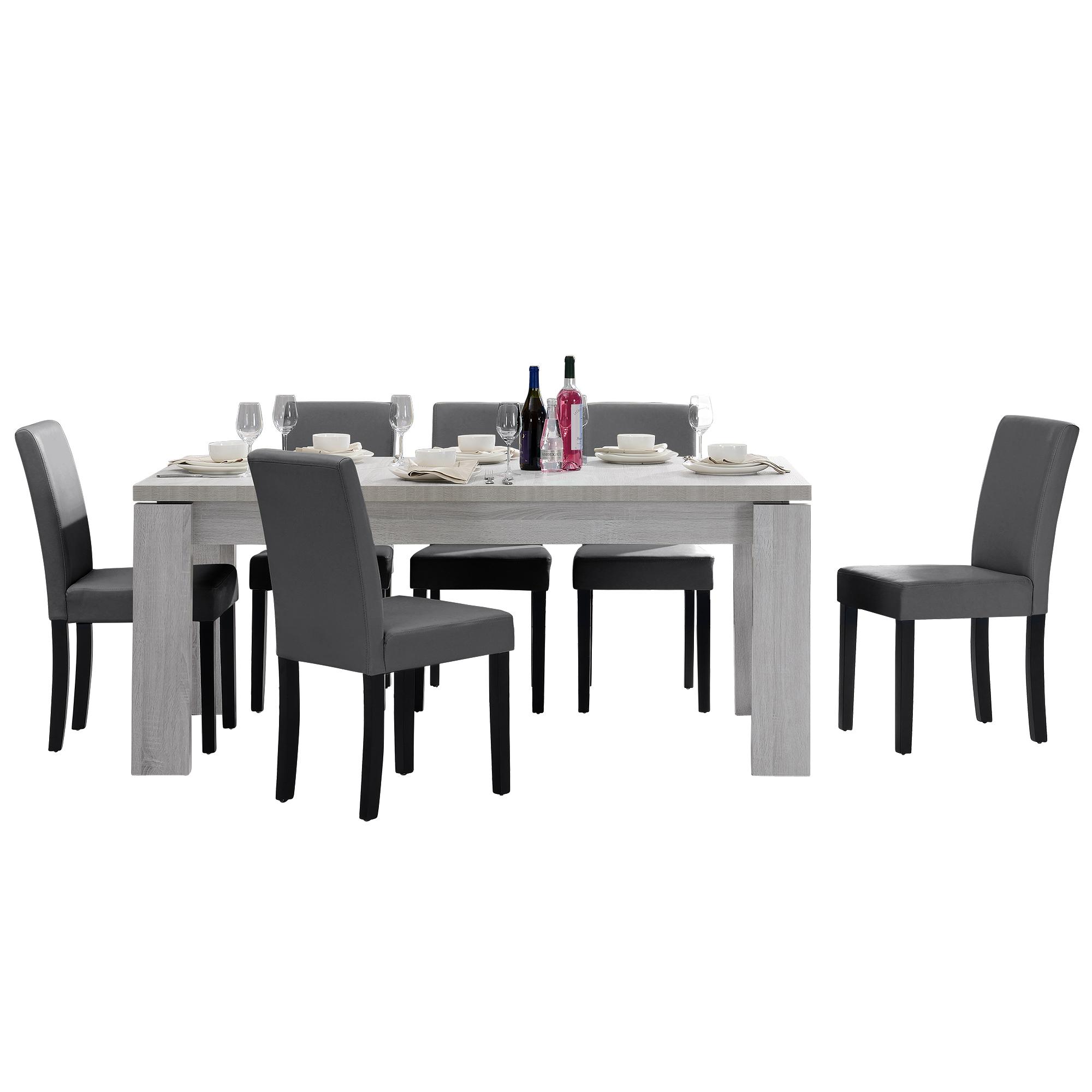[en.casa]® Jídelní sestava 1 x stůl HTFU2333 + 6 x židle HTMY-9703