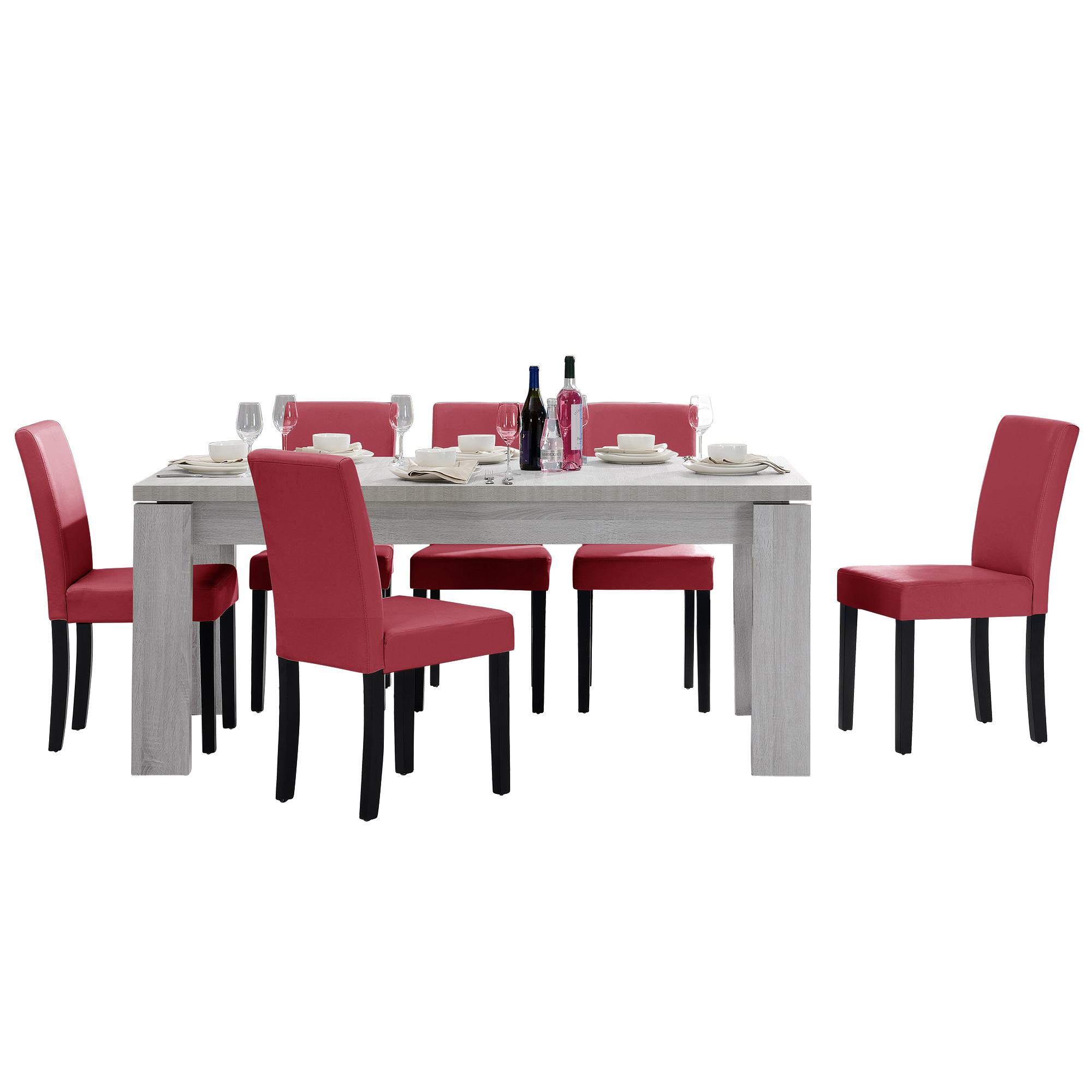 [en.casa]® Jídelní sestava 1 x stůl HTFU2333 + 6 x židle HTMY-9702