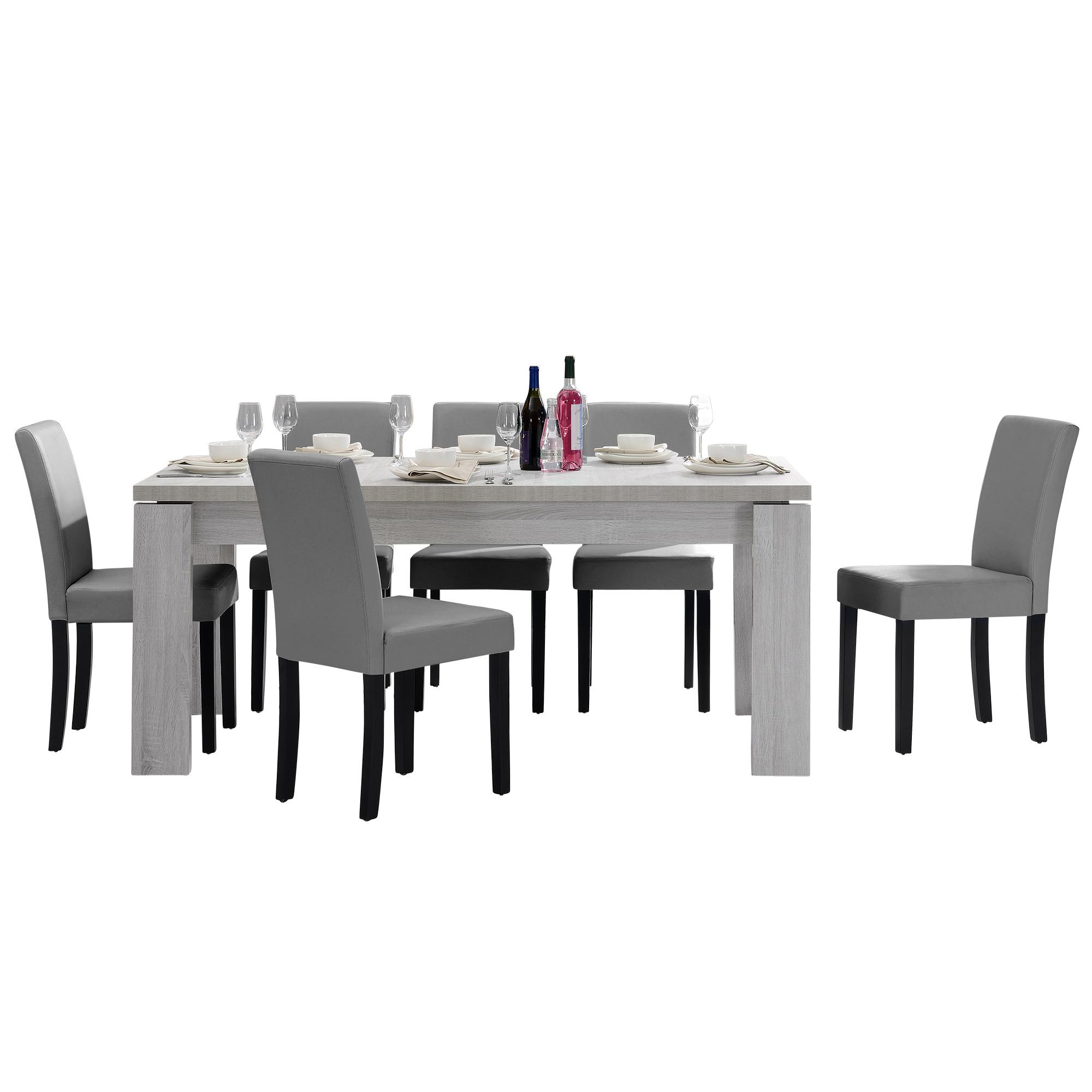 [en.casa]® Jídelní sestava 1 x stůl HTFU2333 + 6 x židle HTMY-9701