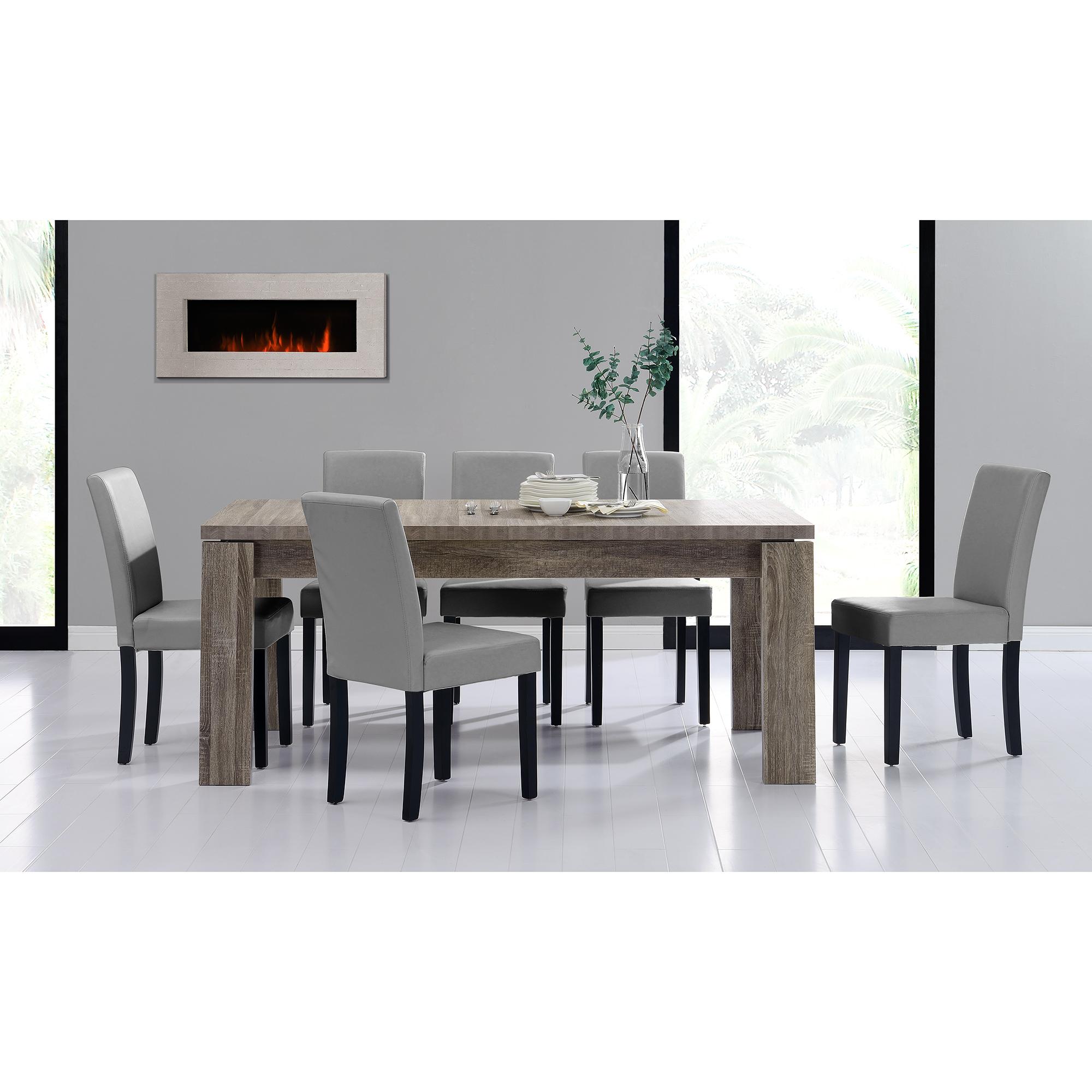 Detalles de [en.casa]® Set comedor mesa 170x79 roble oscuro + 6 sillas  grises tapizadas