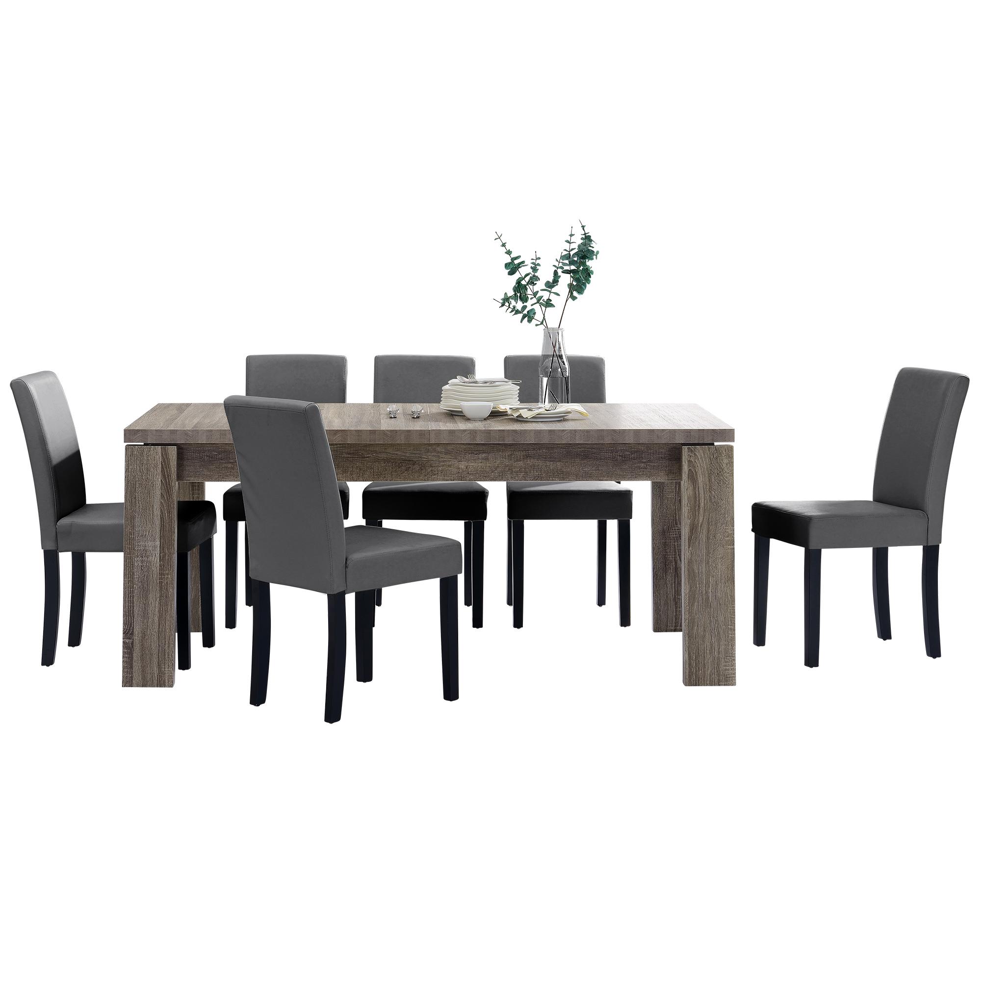 [en.casa]® Jídelní sestava 1 x stůl HTFU2334 + 6 x židle HTMY-9703