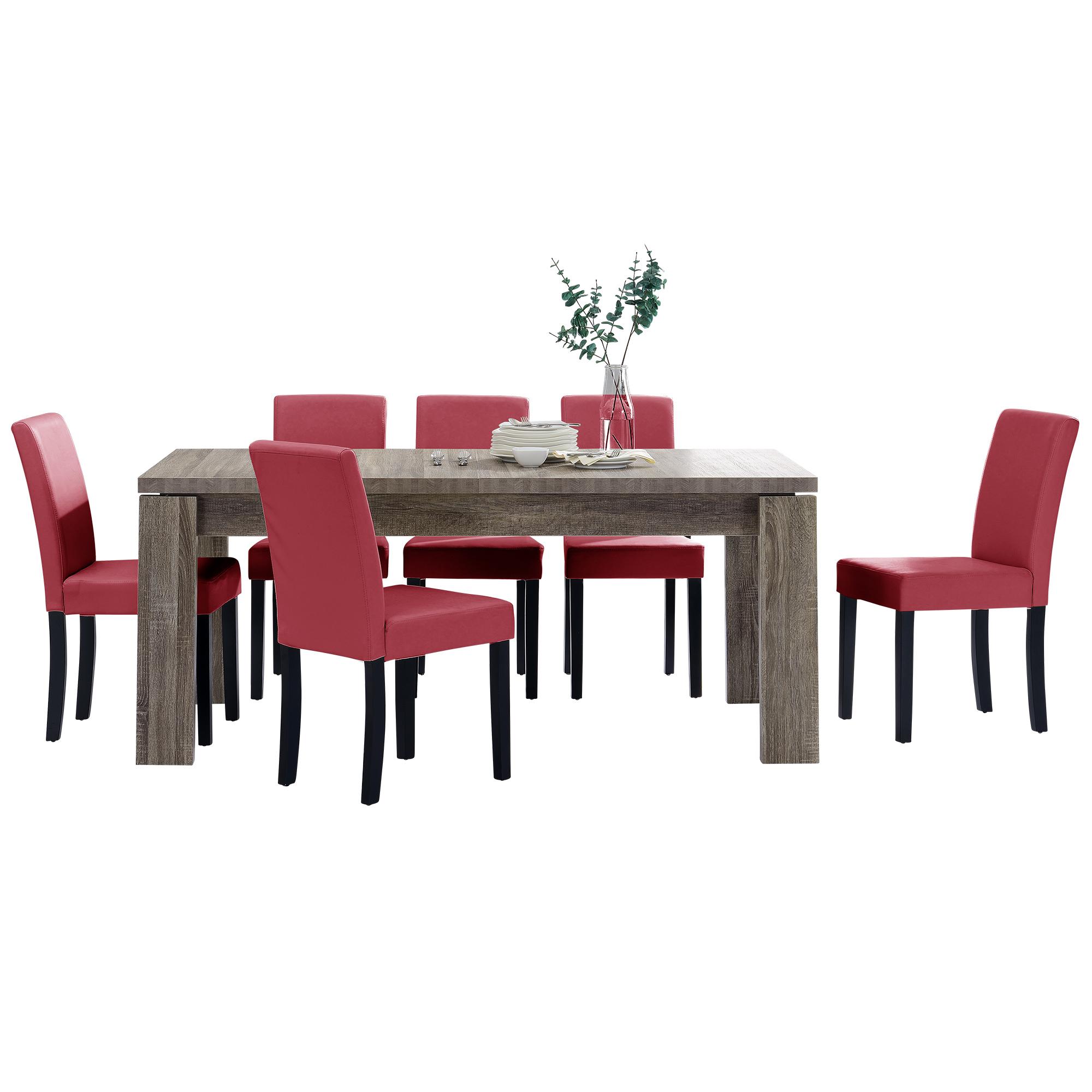 [en.casa]® Jídelní sestava 1 x stůl HTFU2334 + 6 x židle HTMY-9702