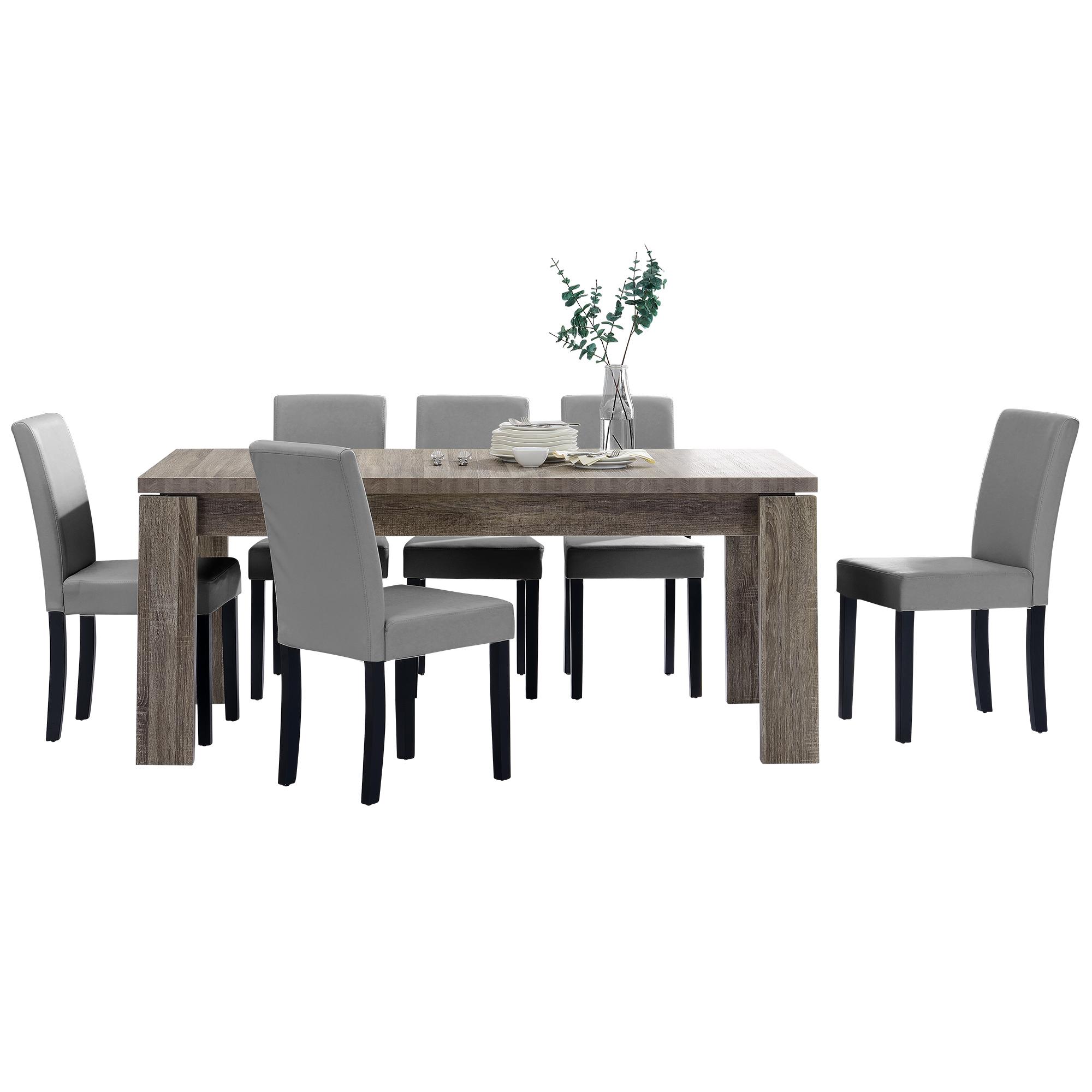 [en.casa]® Jídelní sestava 1 x stůl HTFU2334 + 6 x židle HTMY-9701
